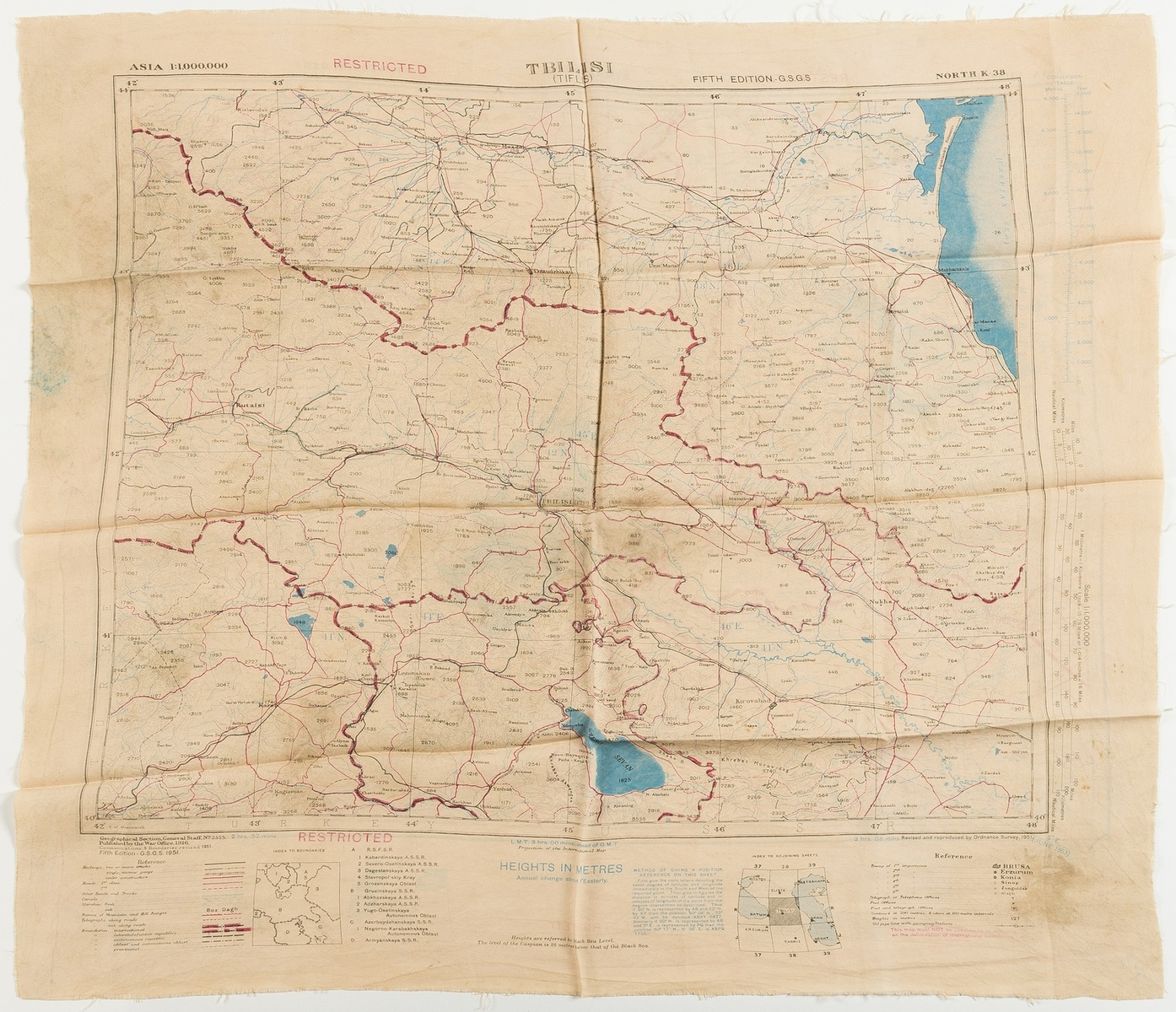 Middle East.- Escape map on silk.- War Office (Geographical Section) Tabriz (verso); Tbilisi …