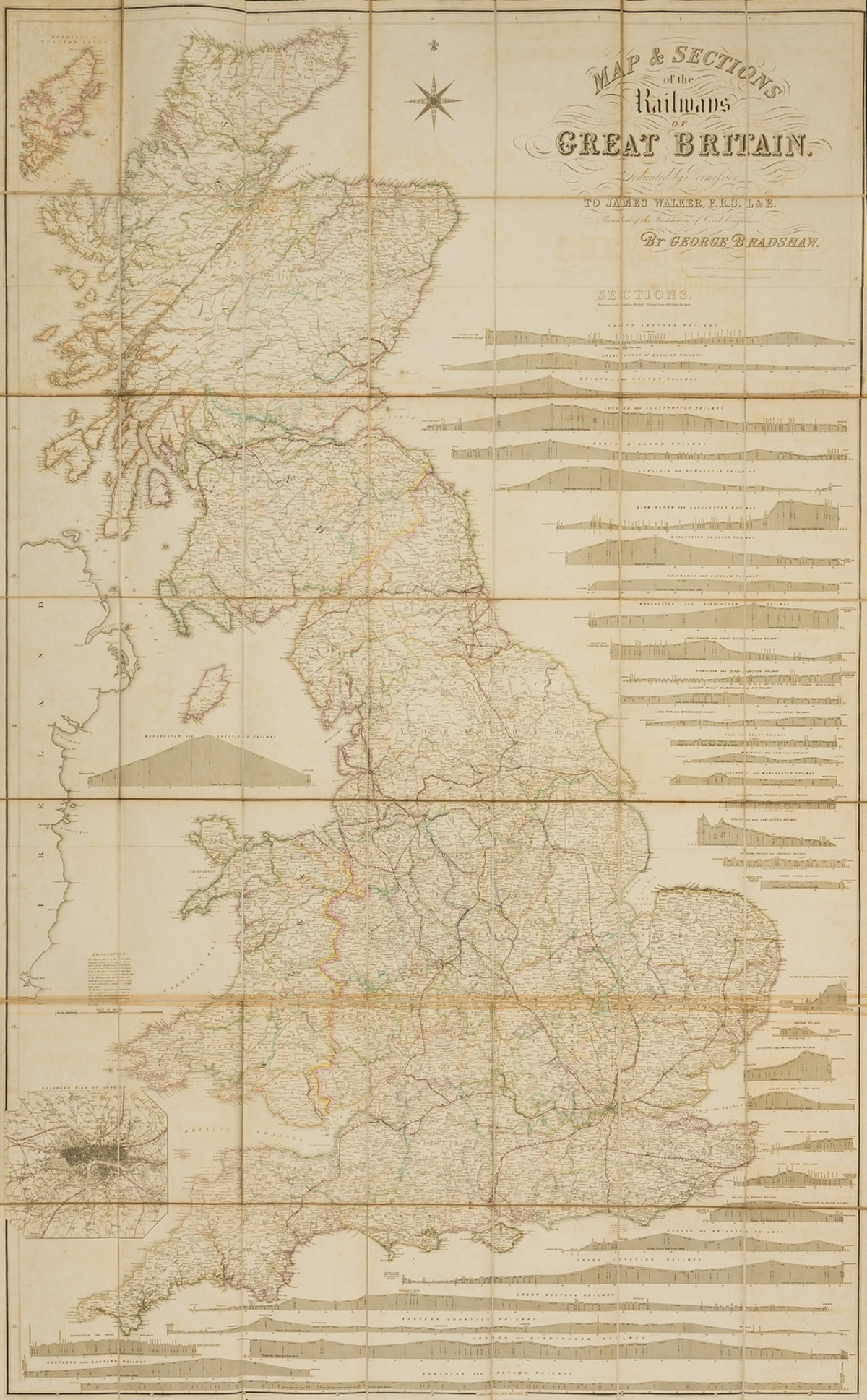 Railways.- Bradshaw (George) Map & Sections of the Railways of Great Britain, 1839; together with …