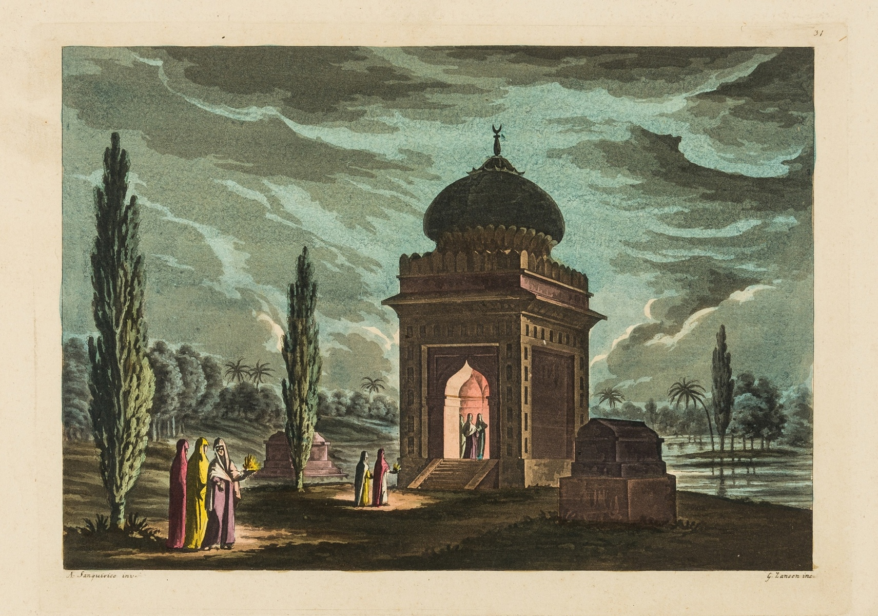 India.- Collection of 10 aquatint plates with hand-colouring on scenes in India, [early 19th …