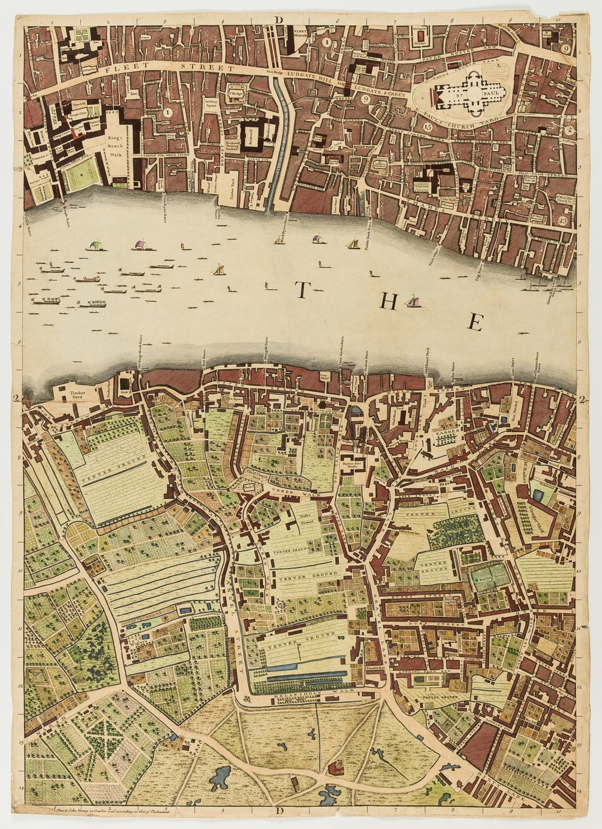 London.- [Rocque (John)] Six sheets from: 'A Plan of the Cities of London and Westminster and …