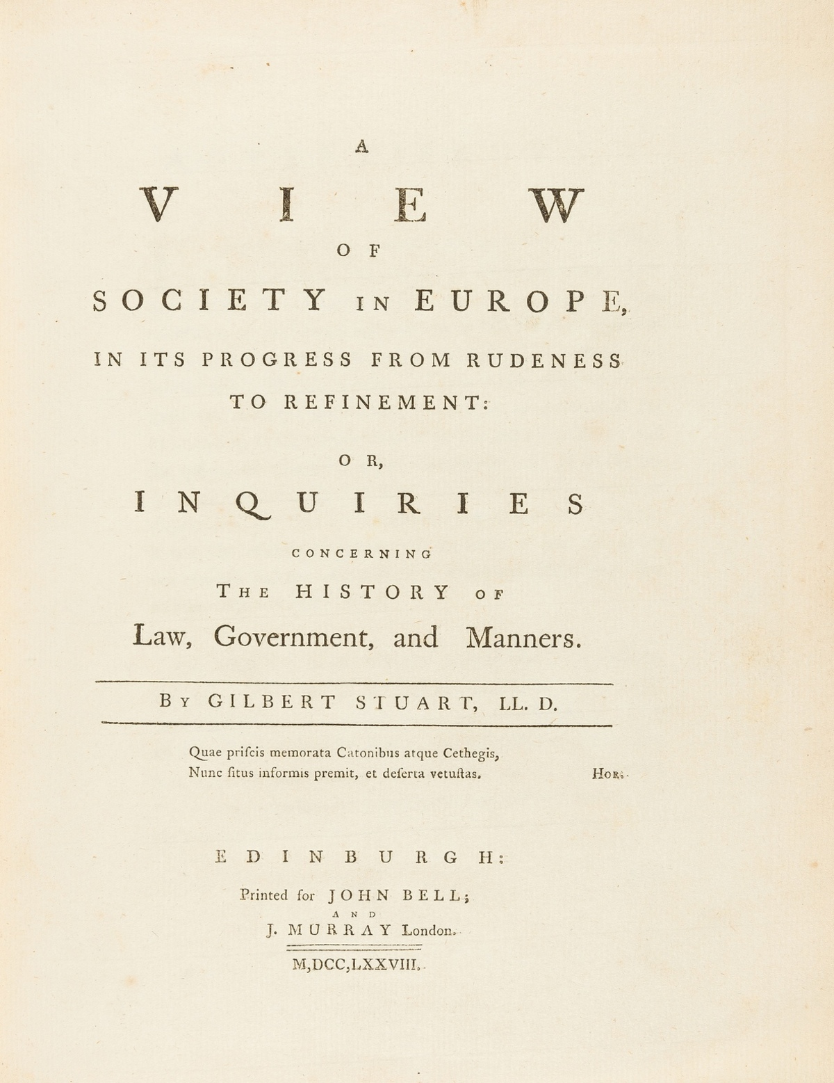 Europe.- Stuart (Gilbert) A View of Society in Europe, in its Progress from Rudeness to …