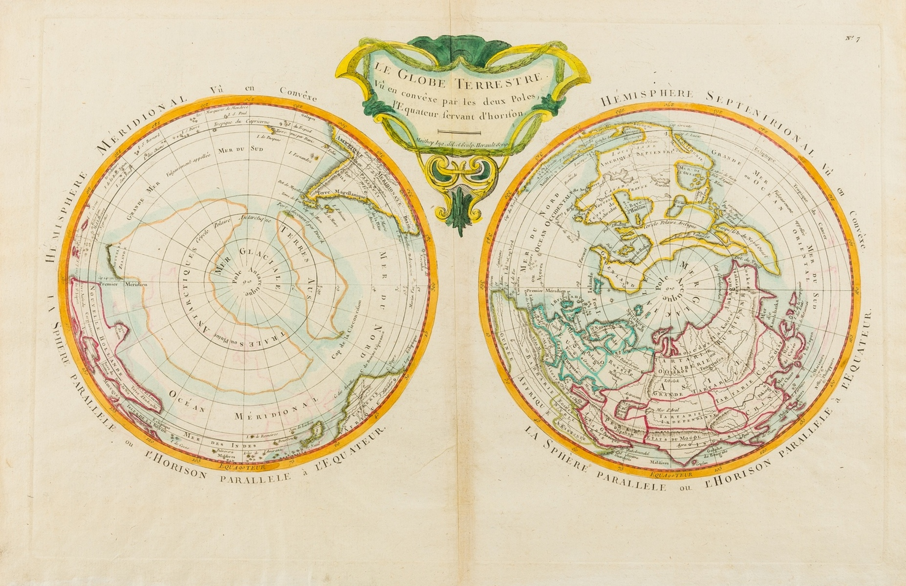 World.- Polar.- Moithey (Maurille Antoine) Le Globe Terrestre Vu en Convexe par les Deux Poles, …