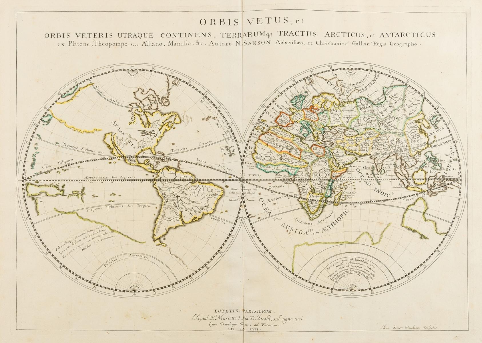 World.- Sanson (Nicolas) and Pierre Mariette. Orbis Vetus, et Orbis Veteris Utraque Continens, …