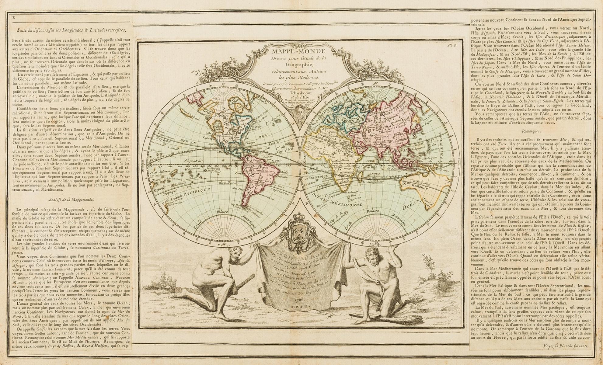 World.- Brion de la Tour (Louis) and Louis Charles Desnos. Mappe-Monde dressee pour l'Etude de la …