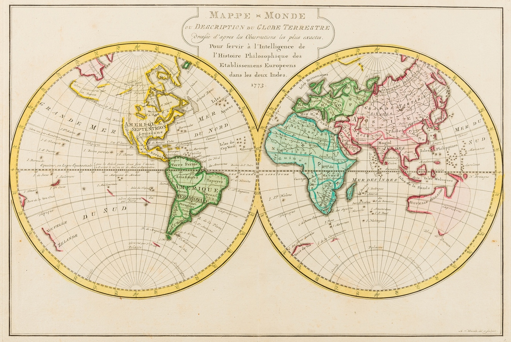 World.- Krevelt (A. van) Mappe-Monde ou Description du Globe Terrestre..., 1773.