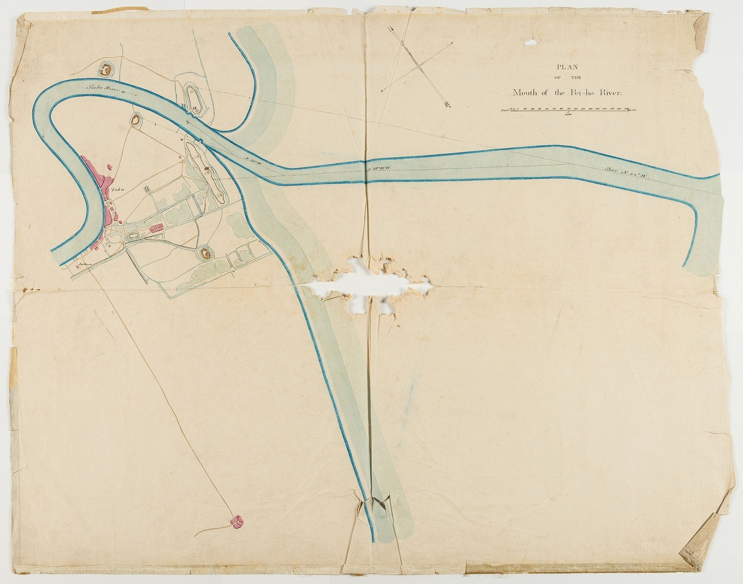 China.- Second Opium War.- Anonymous (probably The British Admiralty Office) Plan of the Mouth of …