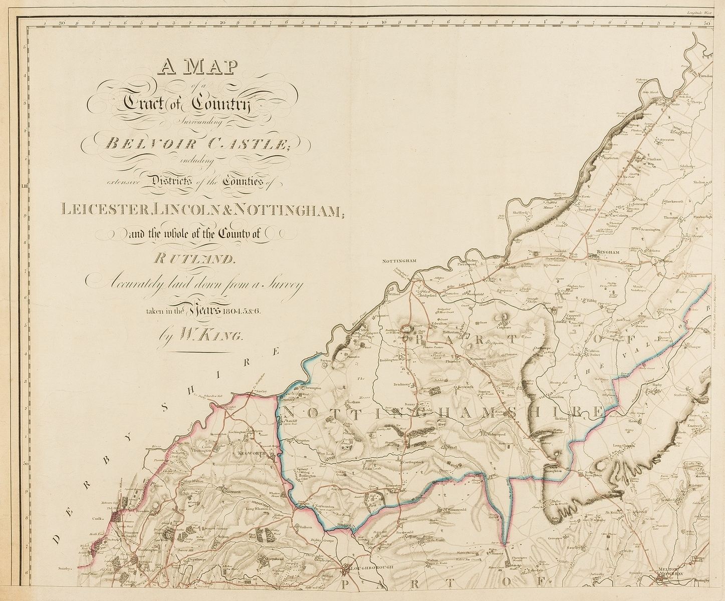 East Midlands.- King (William) A Map of a Tract of Country Surrounding Belvoir Castle including …