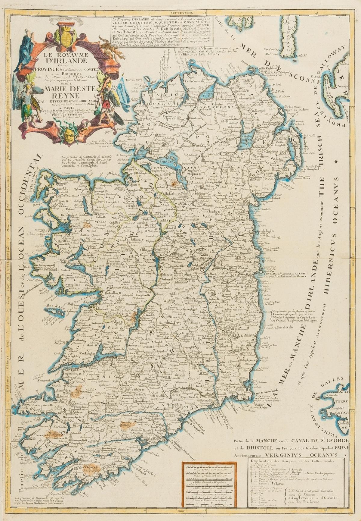 Ireland.- Nollin (Jean Baptiste) Le Royaume D'Irlande. Divise en Provinces Subdivises en Comtez et …