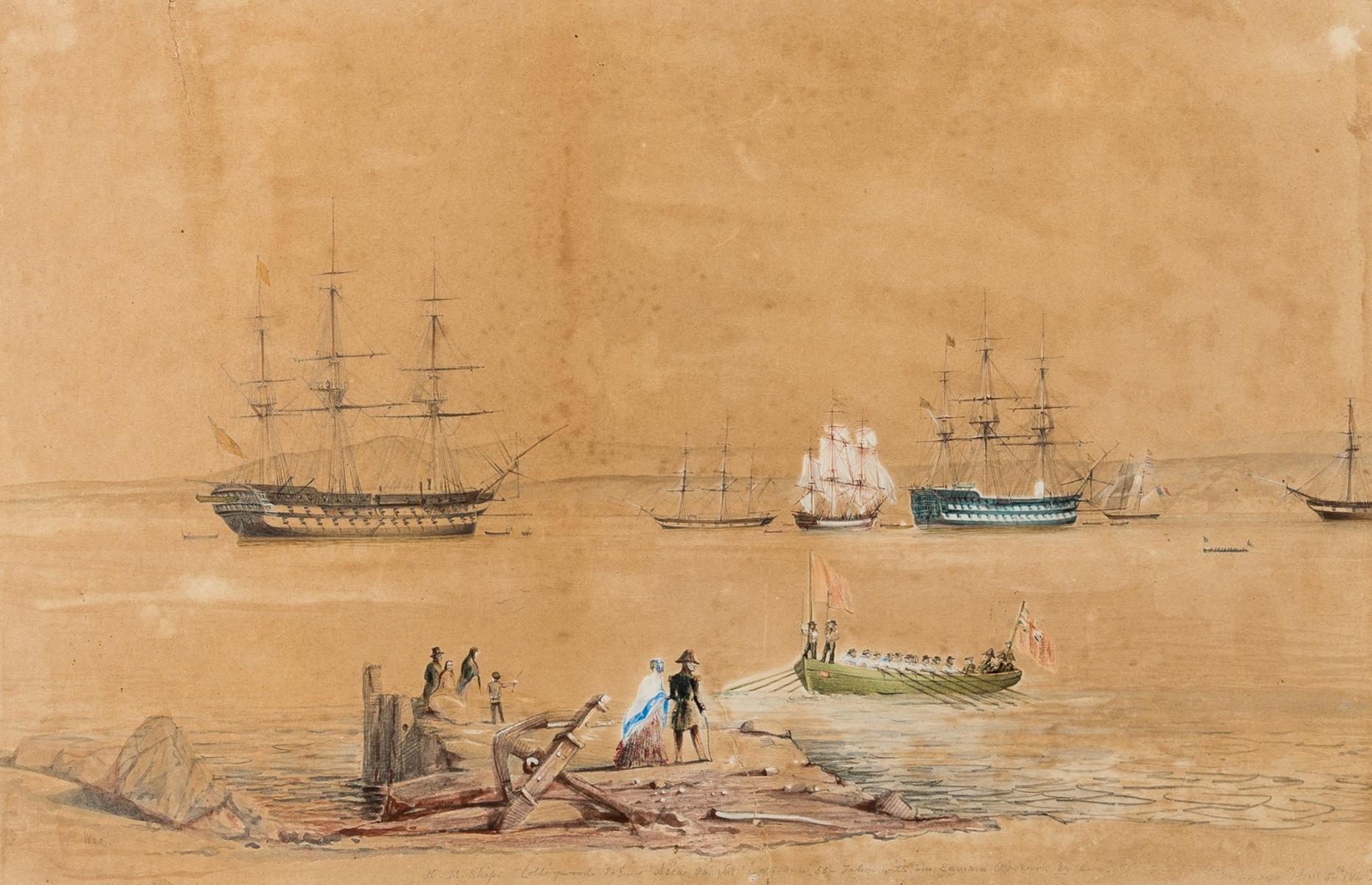 "South America.- Chile.- Wood (Charles ""Carlos"" Chatworthy) H.M. Ships ""Collingwood"" 80 Guns, …"