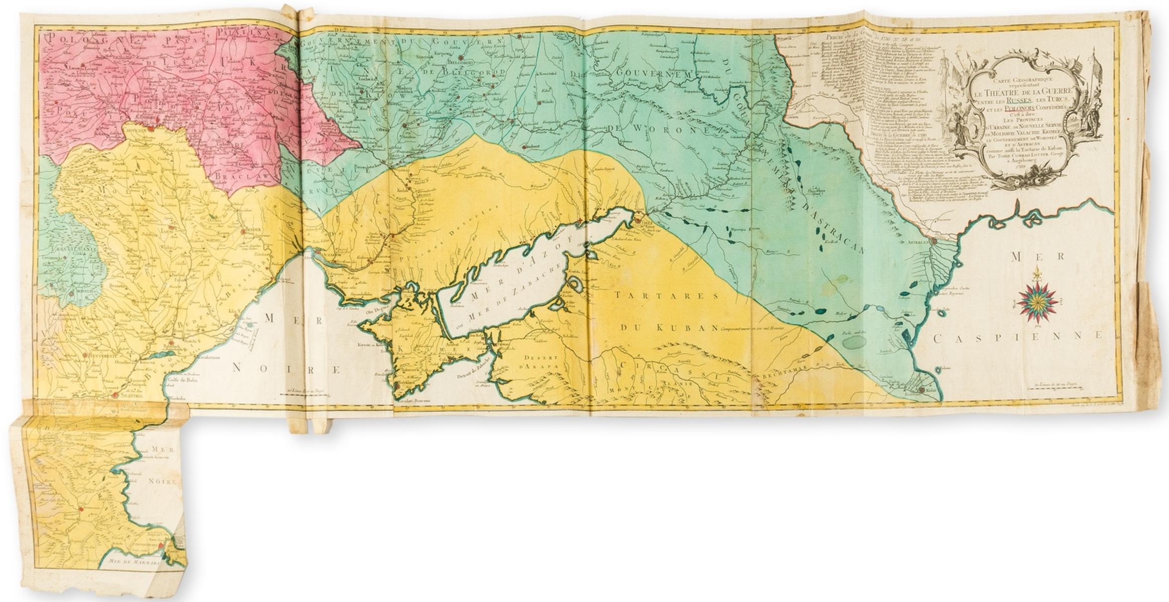 Ukraine.- Lotter (Tobias Conrad) Carte geographique representant le Theatre de la Guerre entre les …