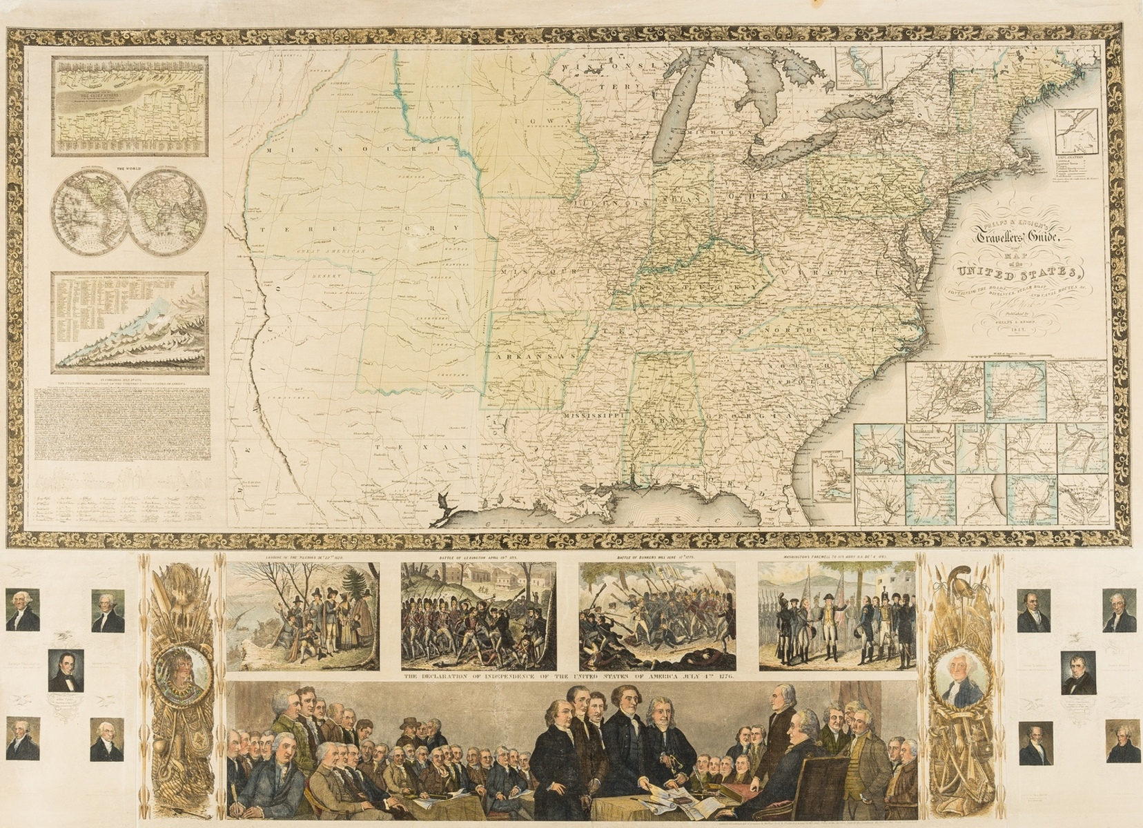 America.- Phelps (Humphrey) & Edward Hooker Ensign. Phelps & Ensign's Travellers Guide and Map of …