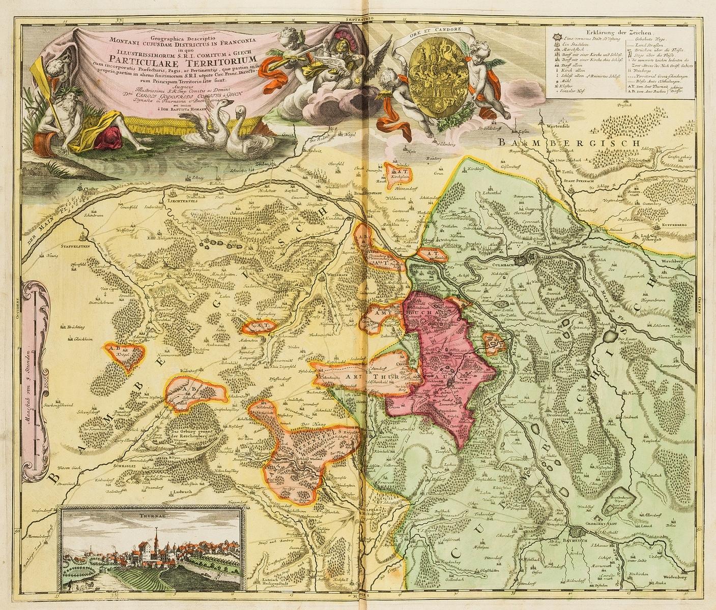 Germany.- Homann (Johann Baptist) Six regional maps of Germany, Denmark, and Austria, [c. 1740].
