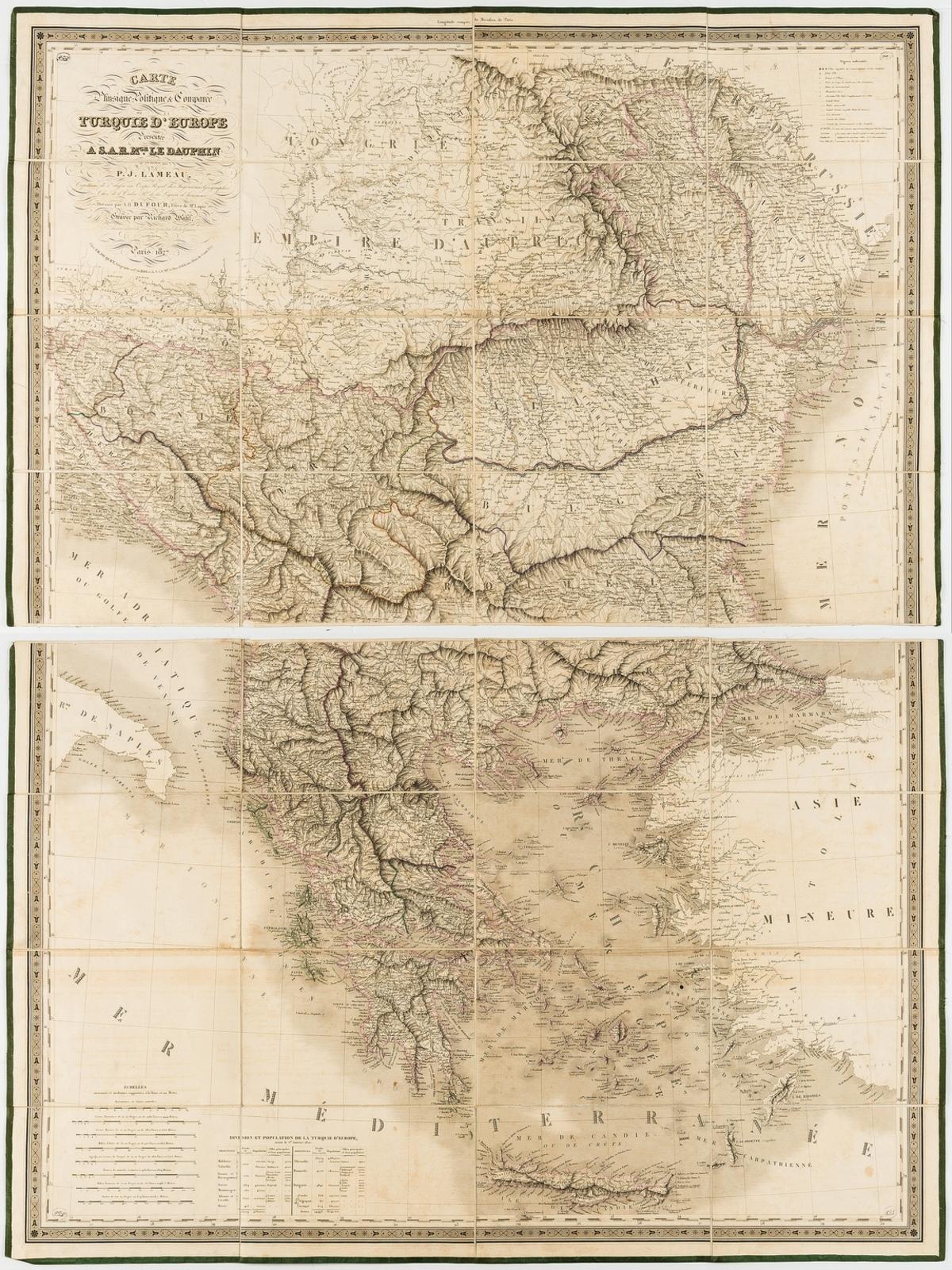 Greece.- Central Europe.- Dufour (Auguste-Henri) Carte physique, politique & comparee de la …