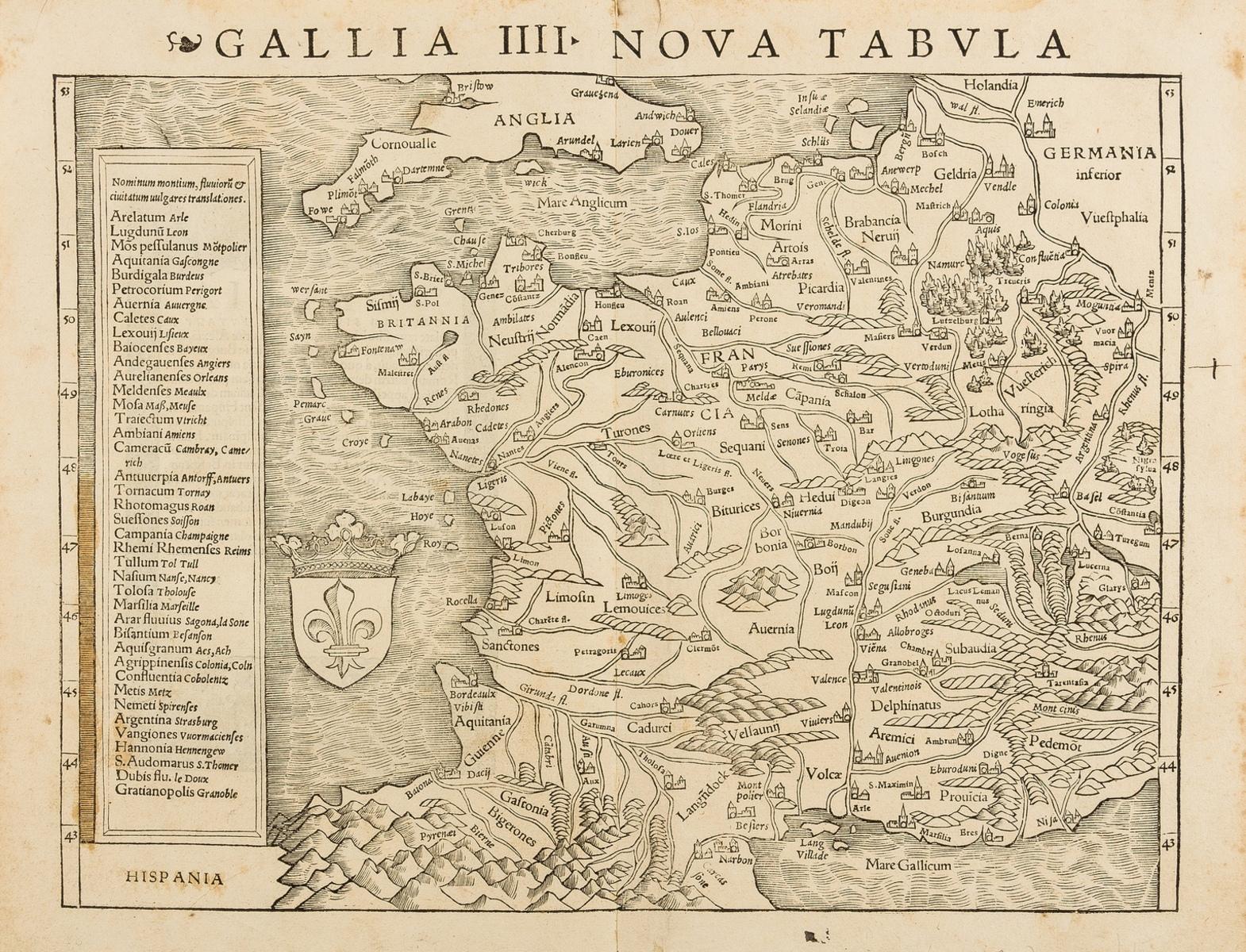 France.- Münster (Sebastian) Gallia IIII Nova Tabula, woodcut, [c. 1540]; and 19 others, mainly …