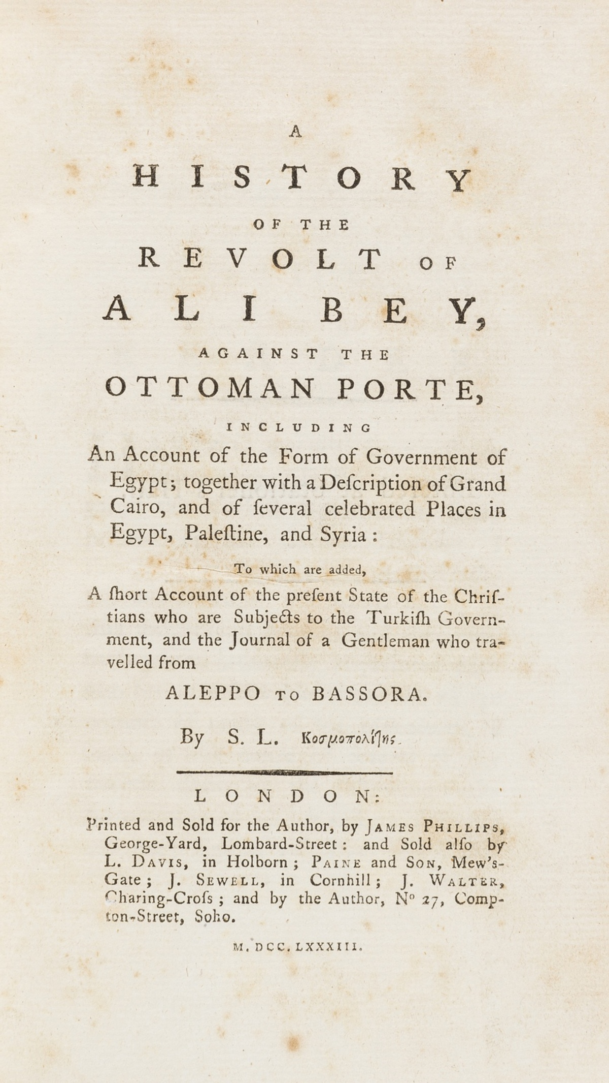 Egypt.- [Lusignan (Sauveur)] A History of the Revolt of Ali Bey, against the Ottoman Porte, first …