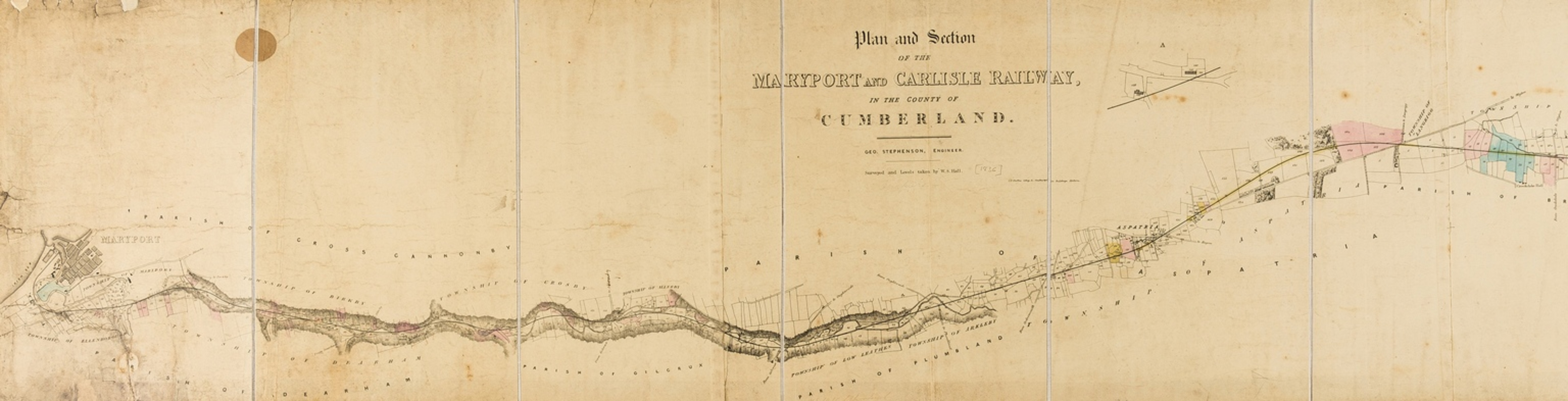 Railways.- Early Cumbrian railways.- Stephenson (George) Plan and Section of the Maryport and …