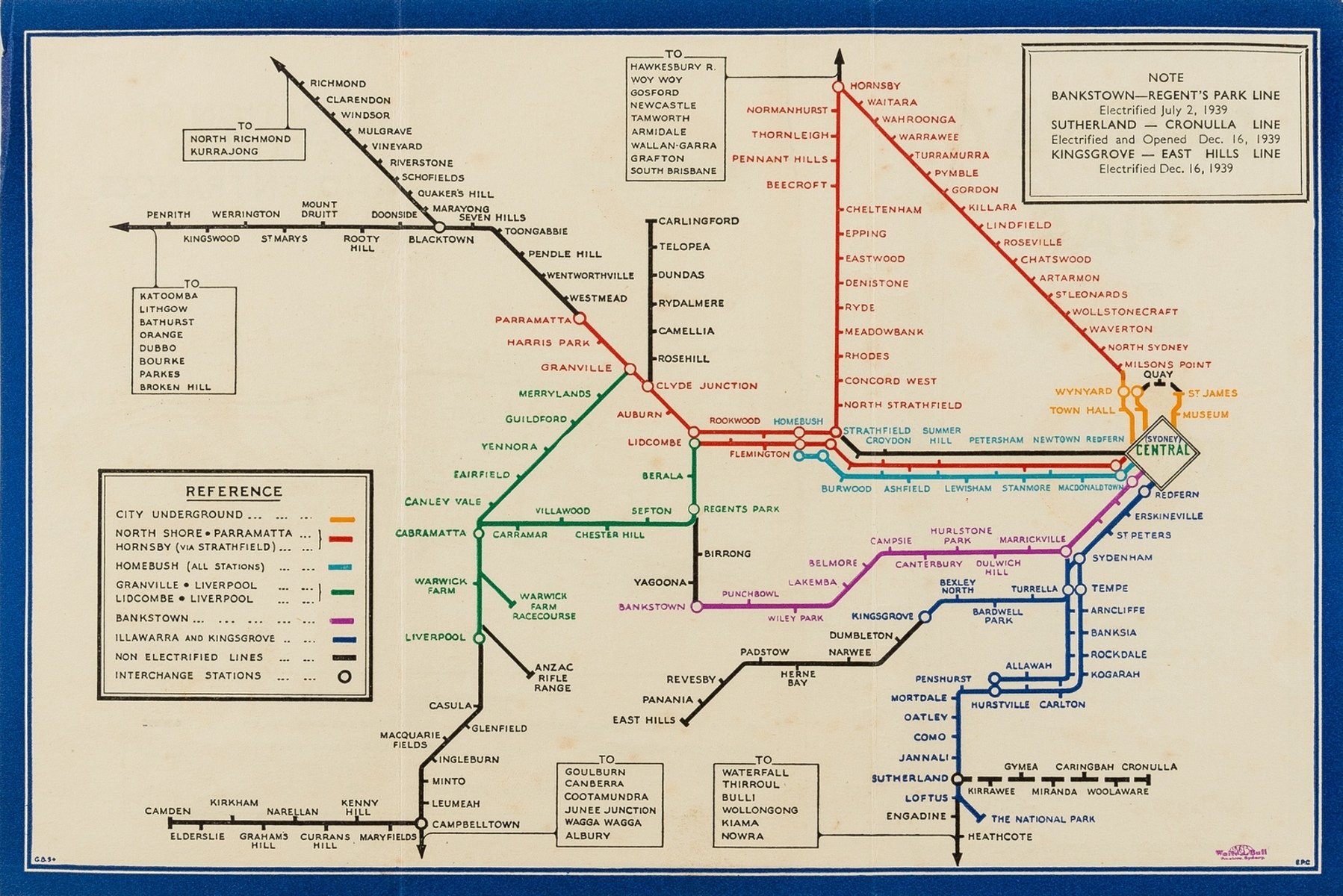 Australia.- Harry Beck London Underground variant.- Commissioner for Railways (New South Wales) …
