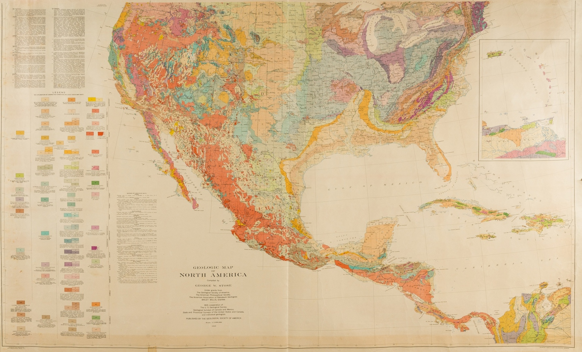 America.- Stone (George W.) Geologic Map of North America, 1946; and two others similar, 1949-1952 …