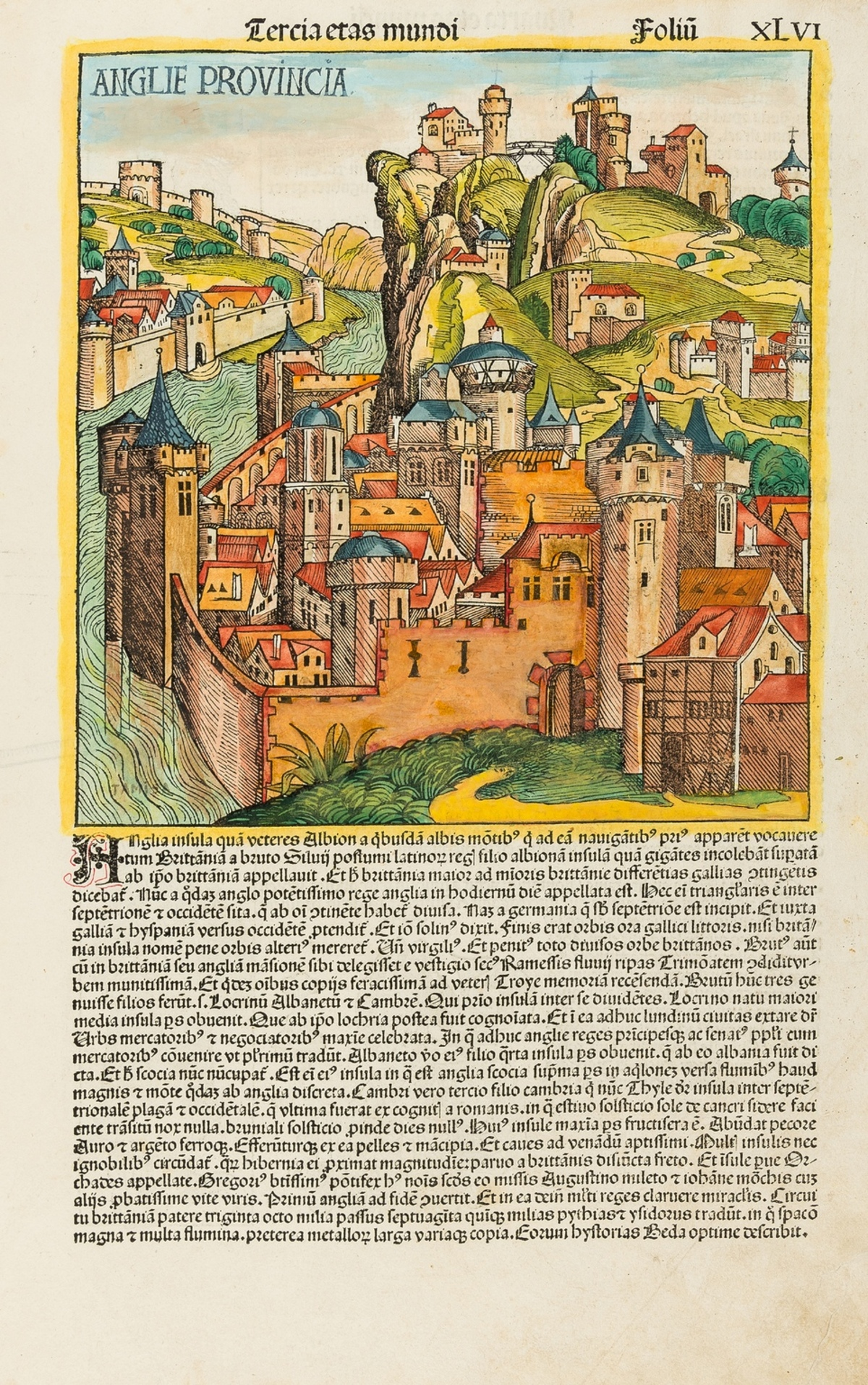 British Isles.- Schedel (Hartmann) Anglie Provincia, folio XLVI from the 'Nuremberg Chronicle', …