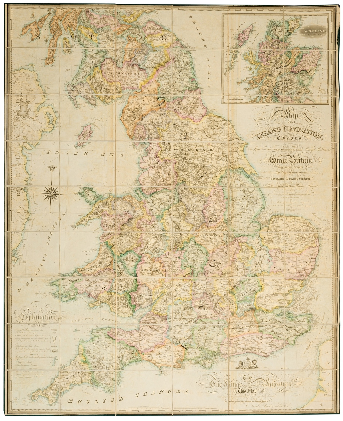 England & Wales.- Walker (John) Map of the Inland Navigation, Canals, and Rail Roads with the …