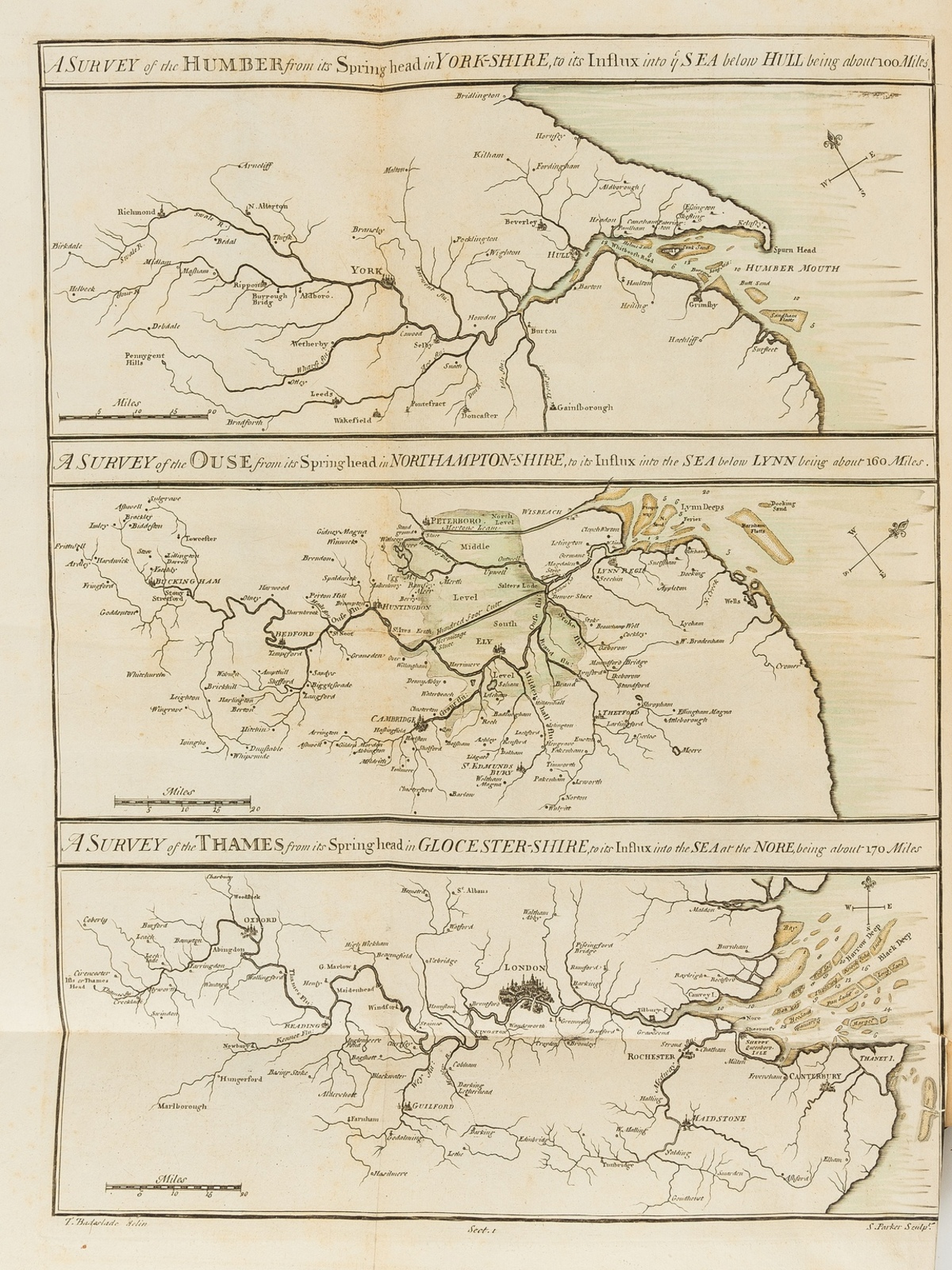 East Anglia.- Badeslade (Thomas) The History of the Ancient and Present State of the Navigation of …