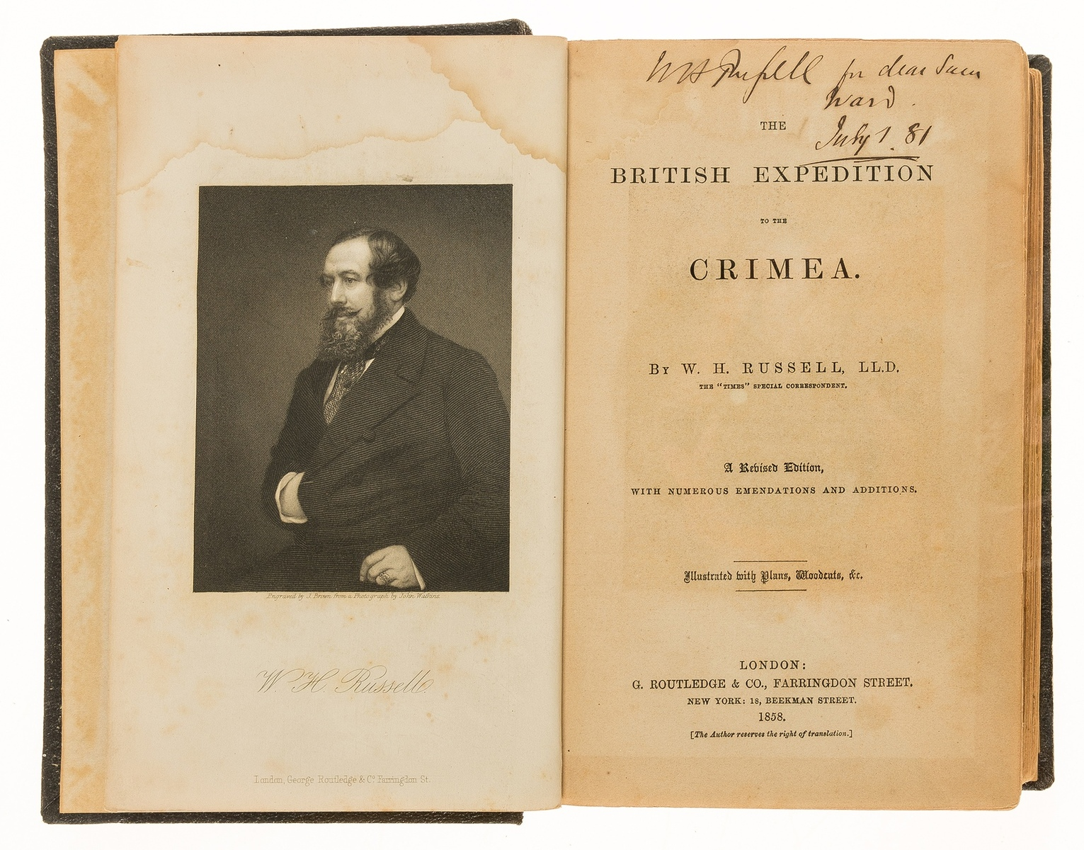 Crimea.- Russell (W.H.) The British Expedition to the Crimea, inscribed by author, 1858.