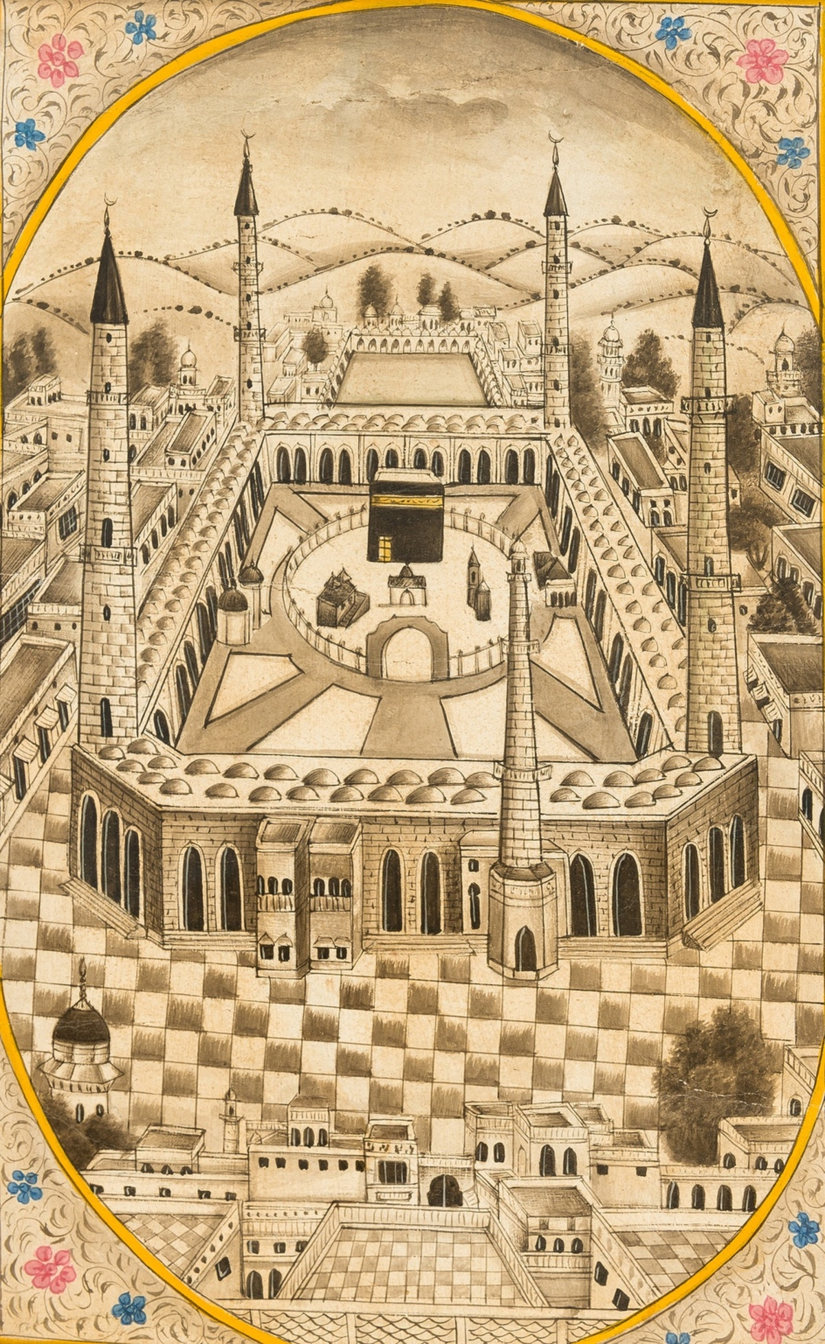 India & the Middle East.- Mecca.- Delhi School (late 19th century) Bird's-eye view of Mecca, …