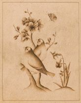 India.- Indo-Persian School (probably 19th century) Study of two birds, brown ink, [probably late …