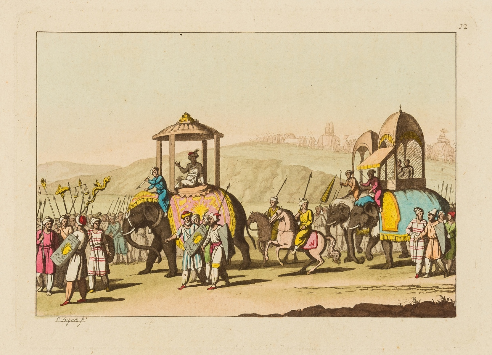 India.- Collection of 10 aquatint plates with hand-colouring on scenes in India, [early 19th … - Image 2 of 4