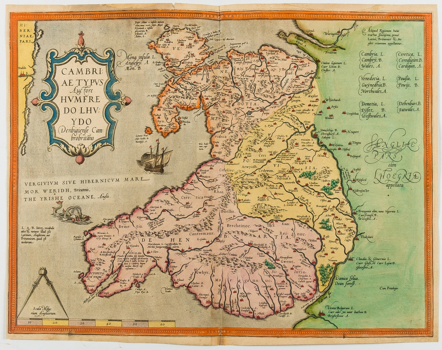 Wales.- Ortelius (Abraham) Cambriae Typus Auctore Humfredo Lhuydo Denbigiense Cambrobritano, [c. …