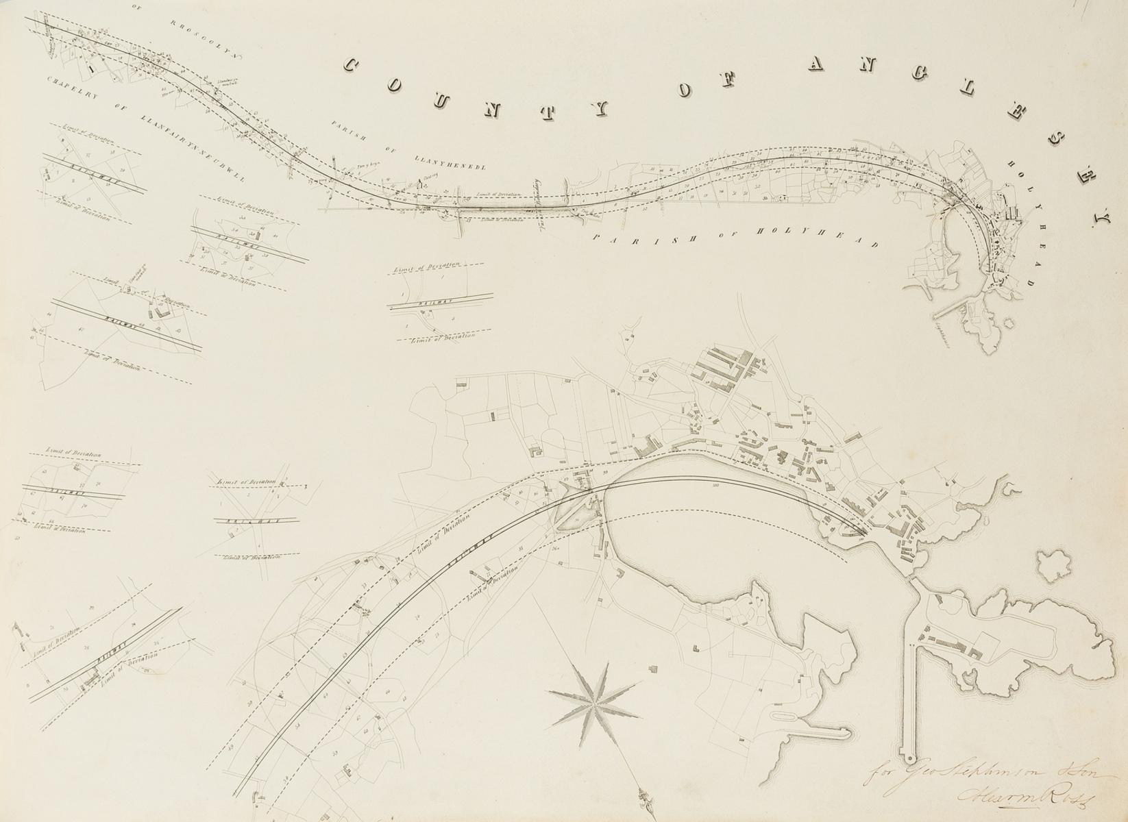 Railways.- Stephenson (George & Robert) Plans & Sections of the Chester & Holyhead Railway, 1843; …