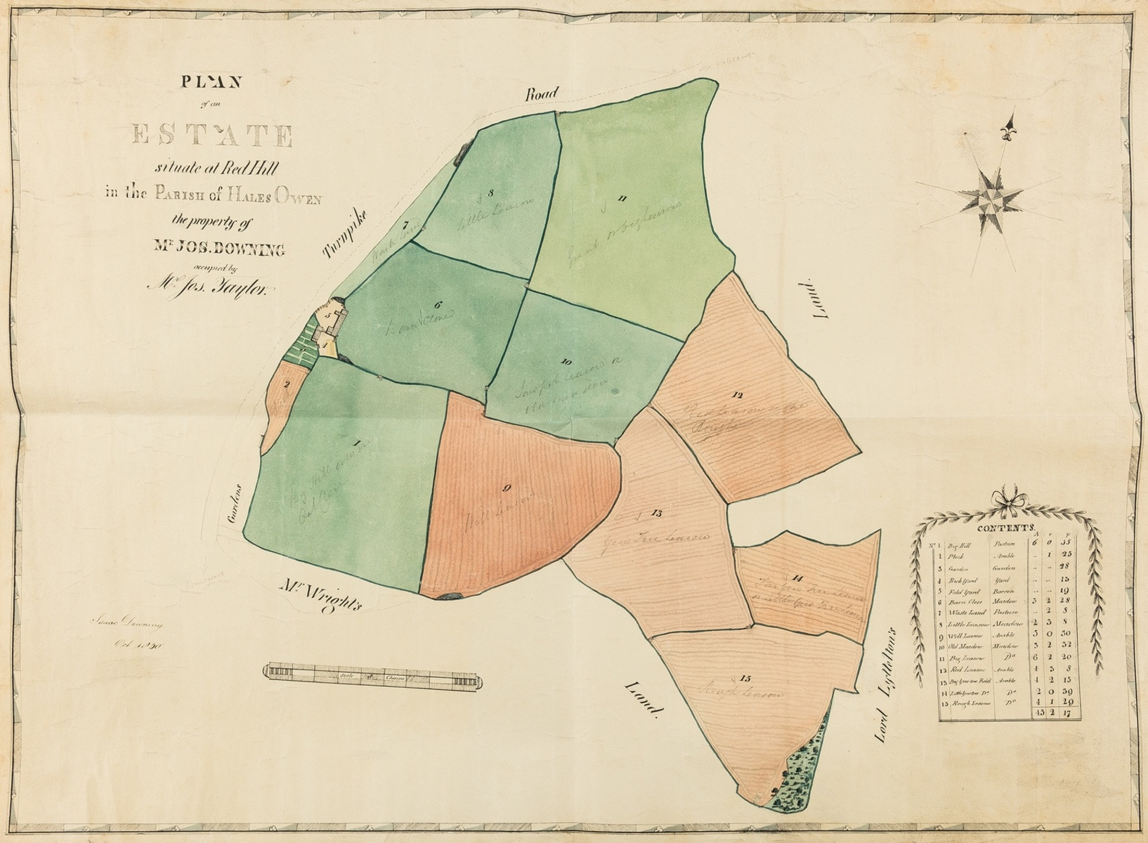 Estate Plans.- Downing (Isaac) Plan of an Estate situate at Red Hill in the Parish of Hales Owen …