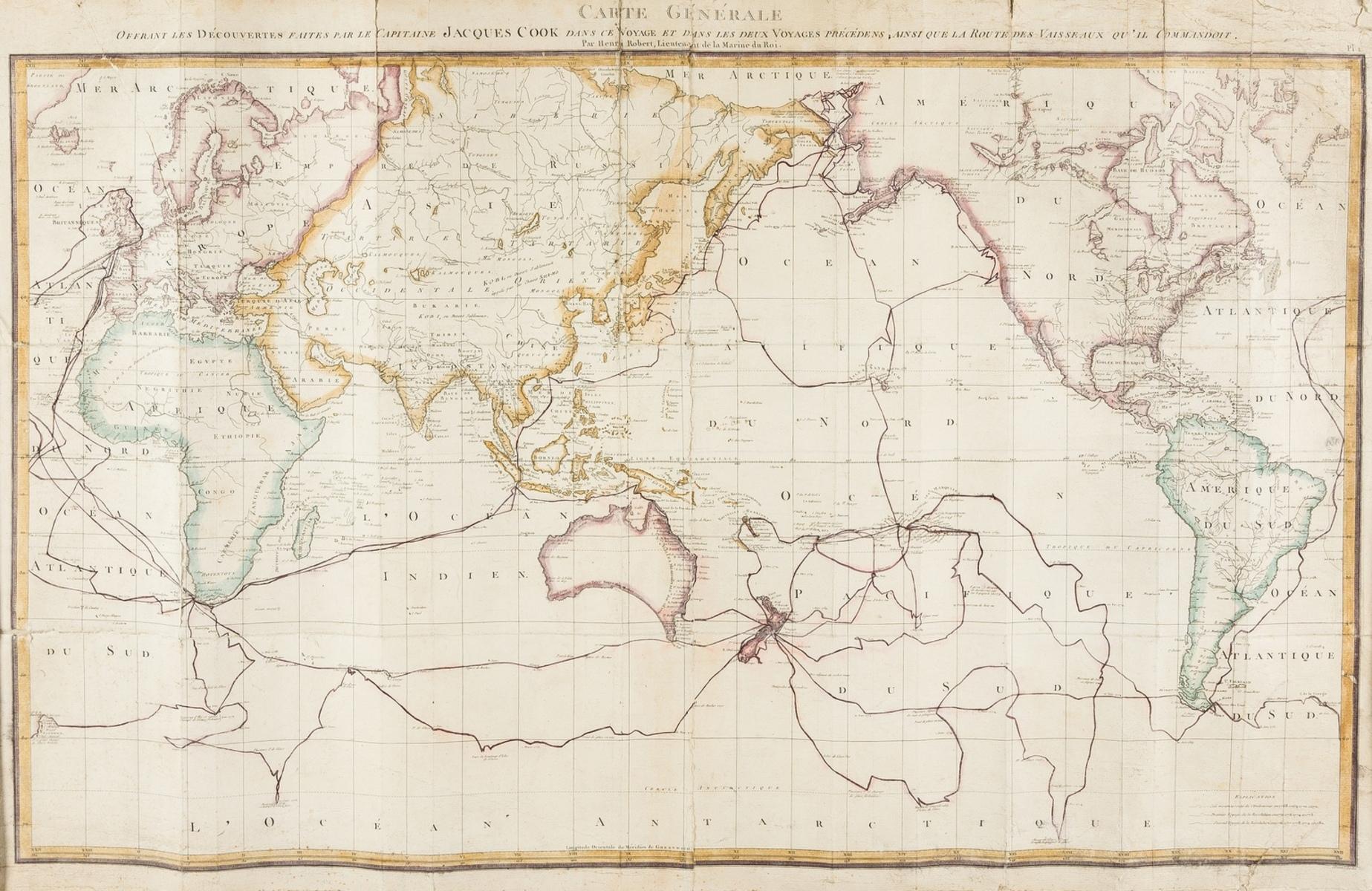 World.- Cook's Voyages.- Roberts (Lieut. Henry) & Robert Benard. Carte Generale Offrant Les …
