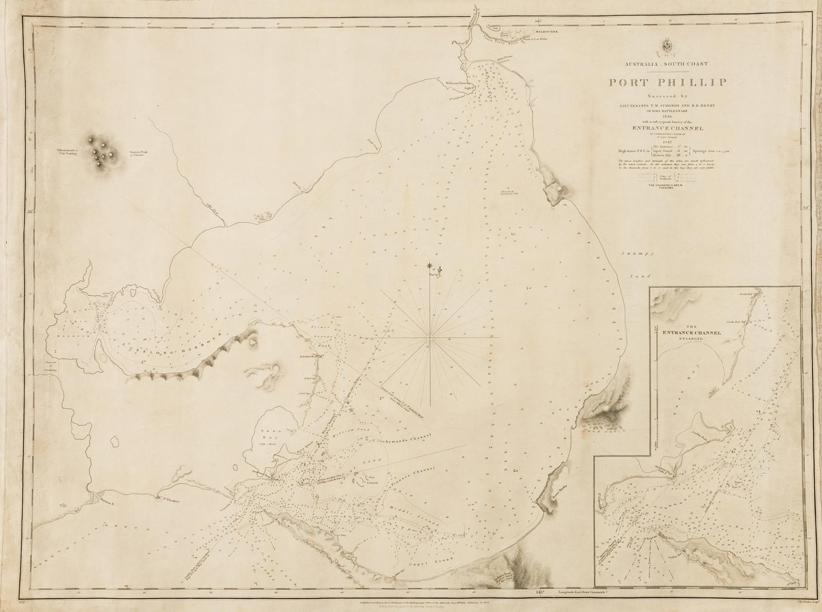 Australia.- Hydrographic Office of the Admirality (British) Australia South Coast - Port Phillip, …
