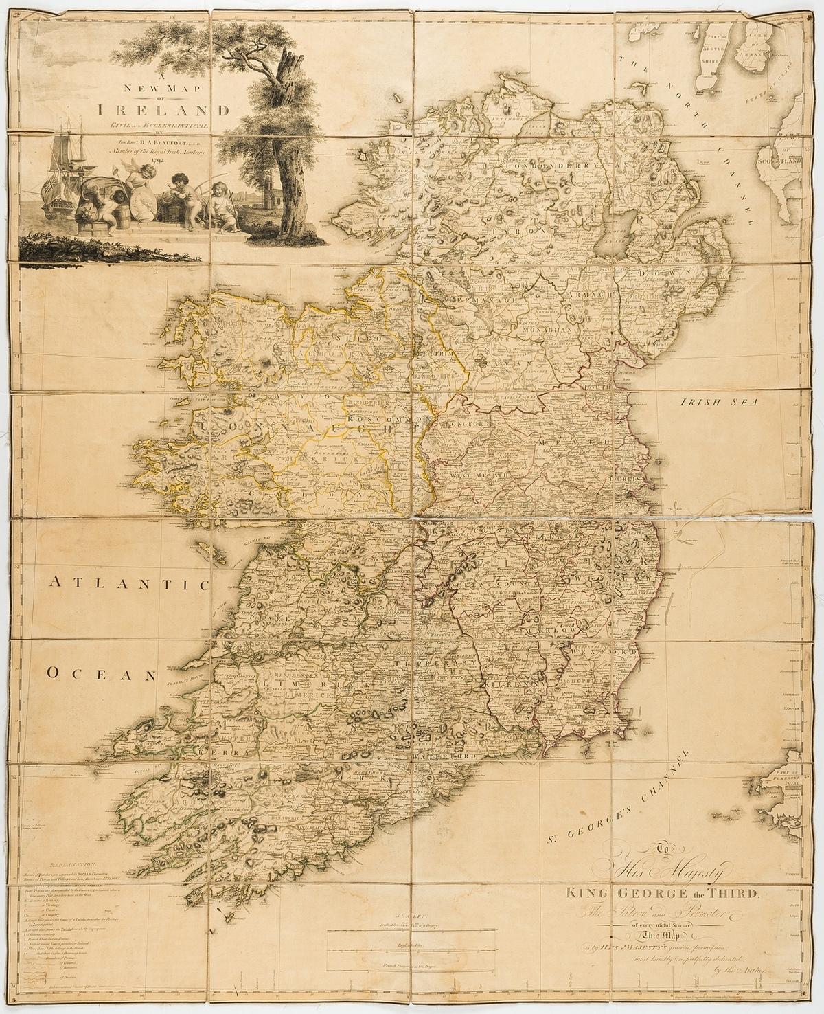 Ireland.- Beaufort (Daniel Augustus) A New Map of Ireland Civil and Ecclesiastical, 1792.