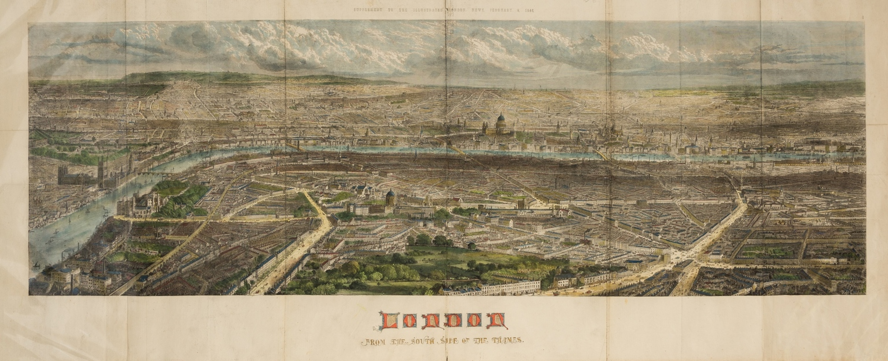 London.- Illustrated London News (The) London from the South Side of the Thames, 1861.