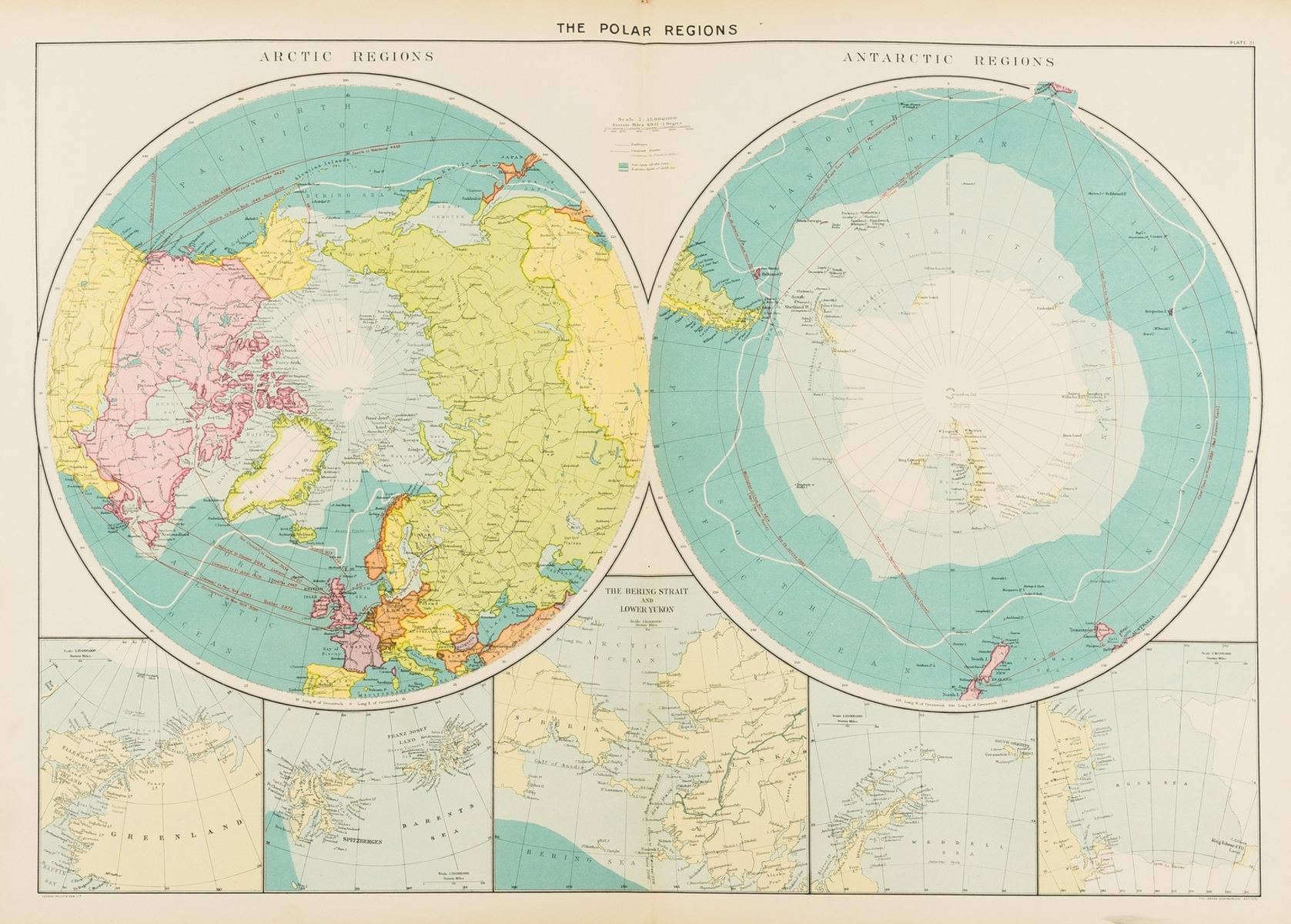 Polar.- Collection of 32 maps of the polar regions, engravings and lithographs, mainly 19th …