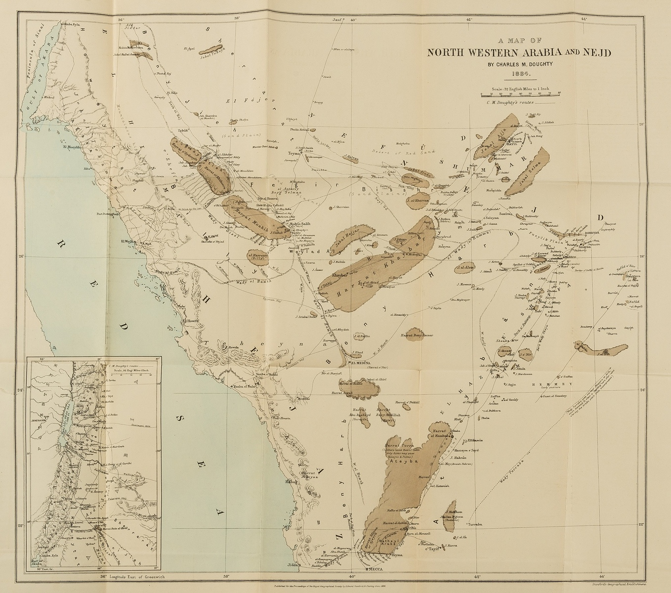 Middle East.- Doughty (Charles M.) A Map of North Western Arabia and Negd, 1884.