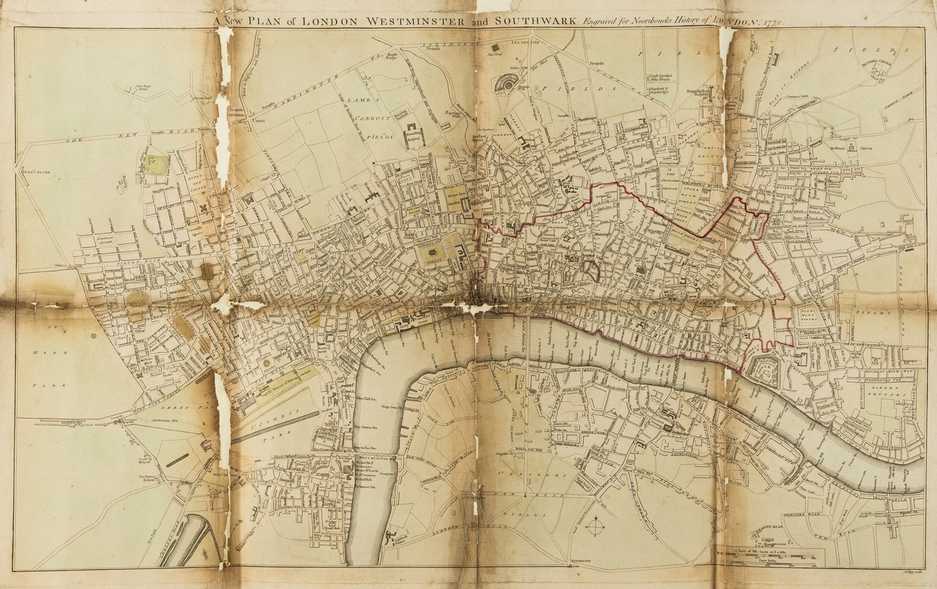 London.- Noorthouck (John) A New Plan of London, Westminster and Southwark, Engraved for …