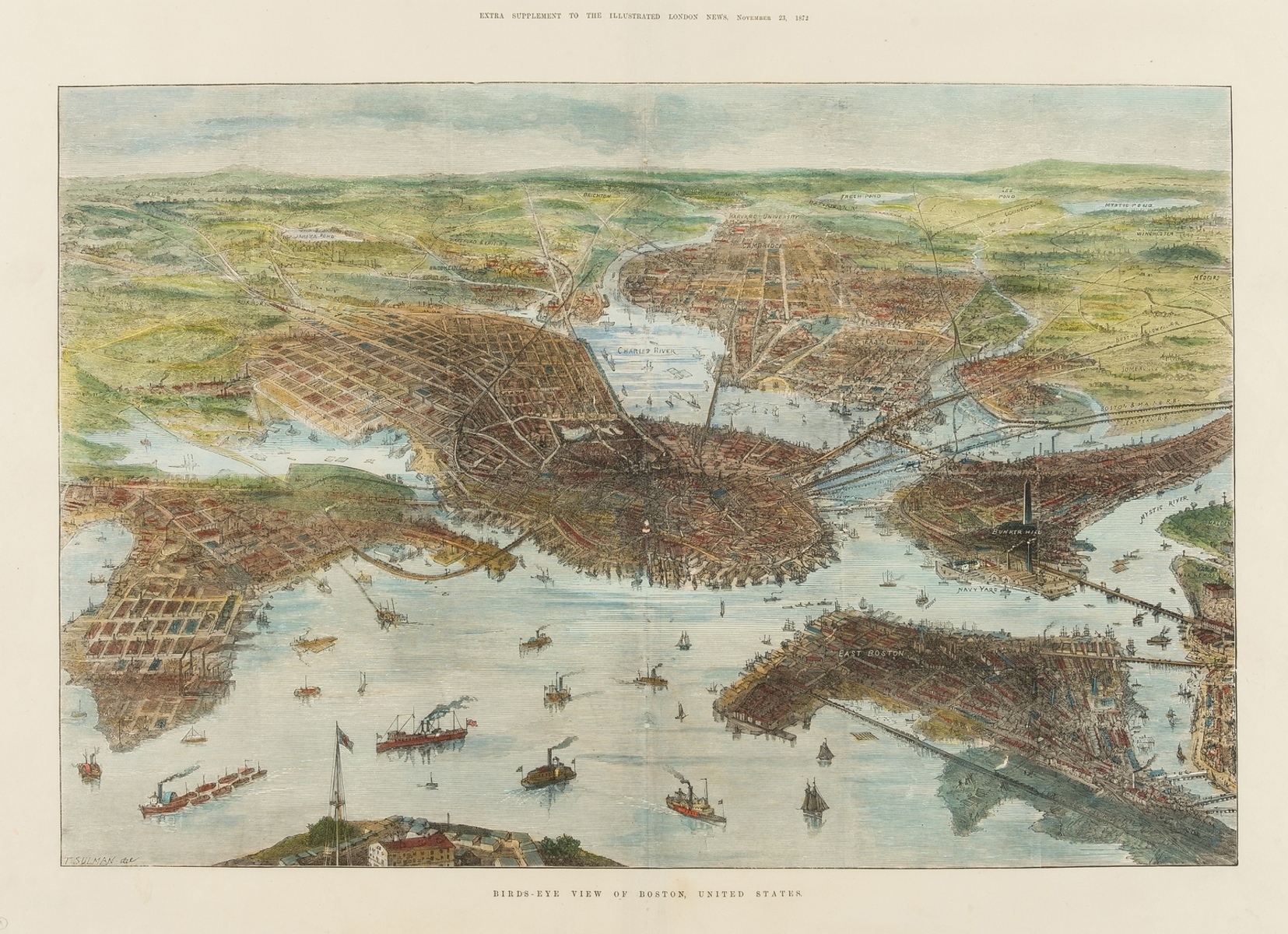 America.- Illustrated London News (The) Bird's-Eye View of Boston, United States, 1872.