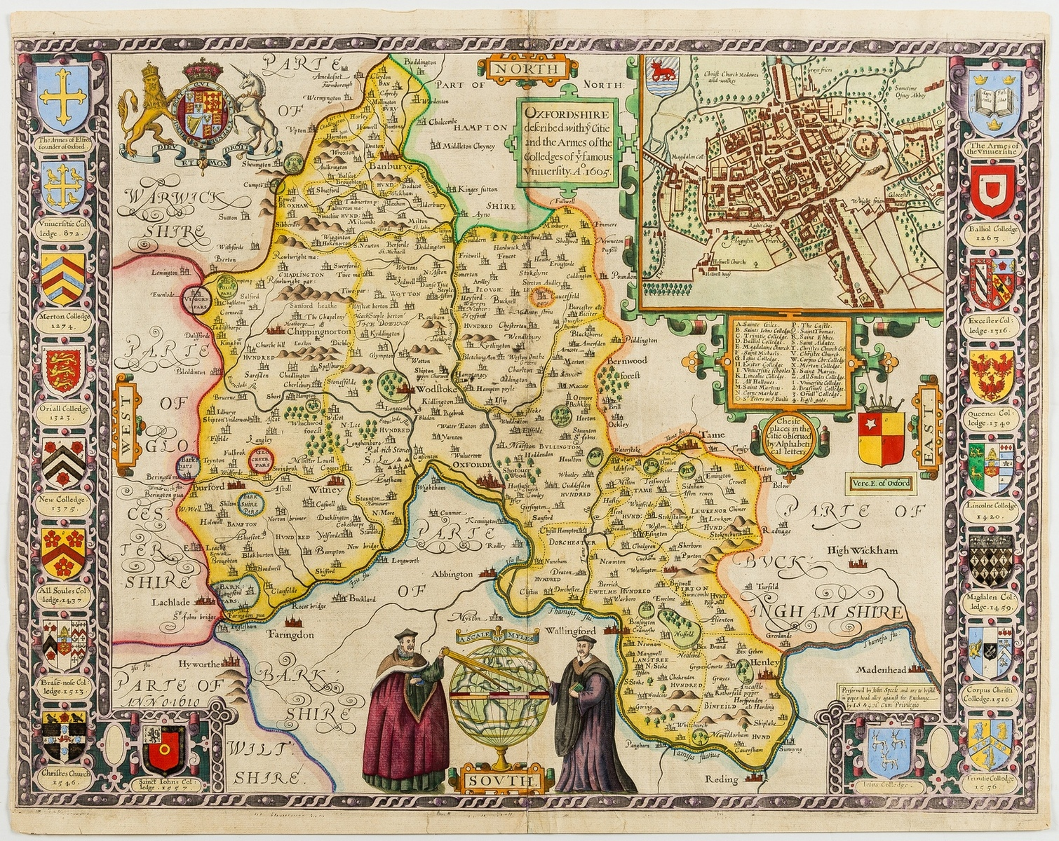 Oxford.- Speed (John) Oxfordshire described with ye Citie and the Armes of the Colledges of yt …