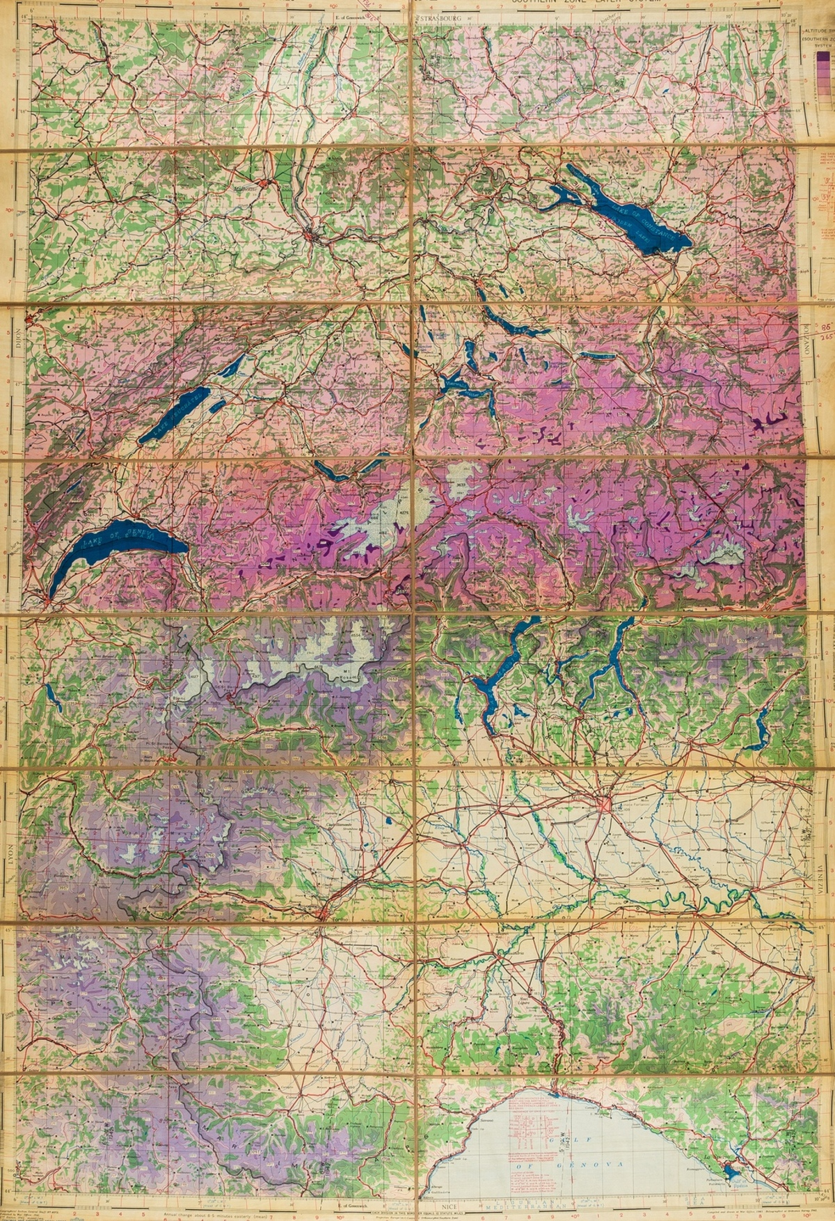 Aviation charts.- War Office (Geographical Section) Collection of 17 aviation charts of England & …