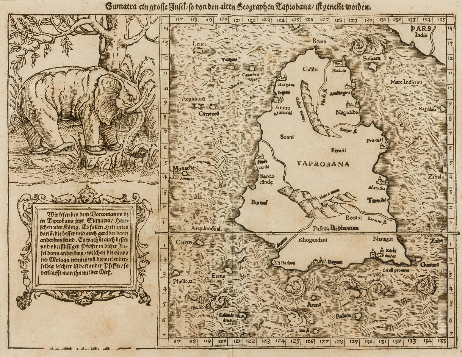 Sri Lanka.- Münster (Sebastian) Sumatra ein grosse insel so von den alten Geographen Taprobana ist …
