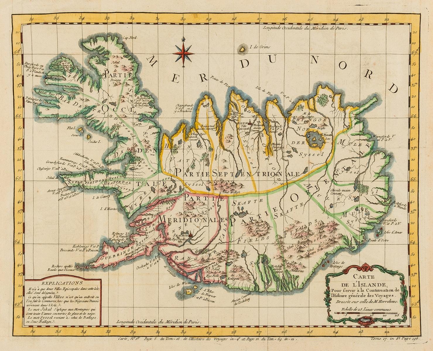 Iceland.- Bellin (Jacques Nicolas) Carte de l'Islande, pour Servir a la Continuation de l'Histoire …