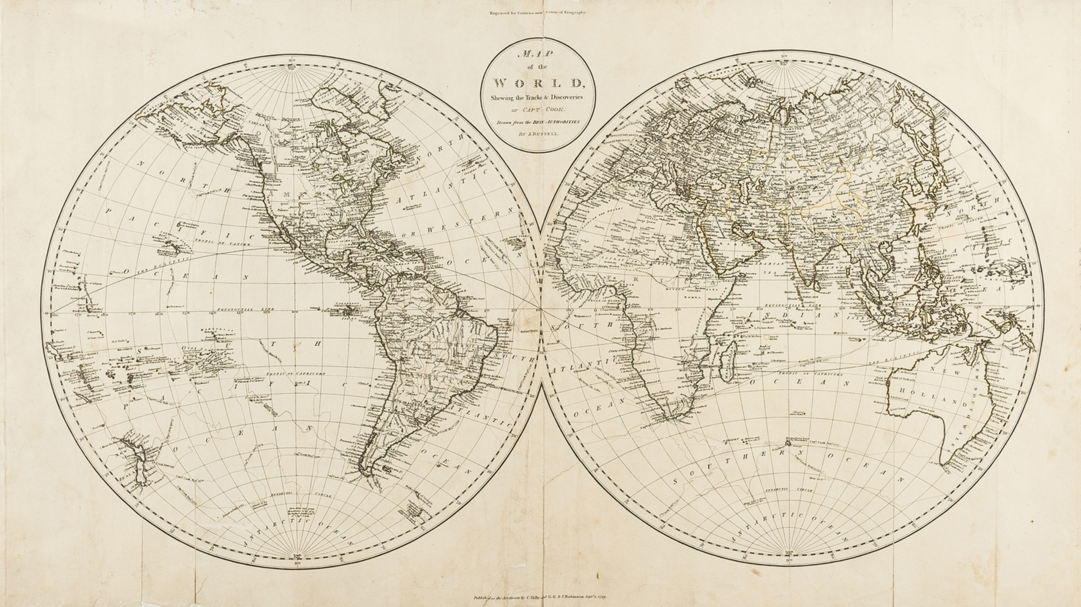World.- Russell (John) Map of the World, Shewing the Tracks & Discoveries of Capt. Cook, …