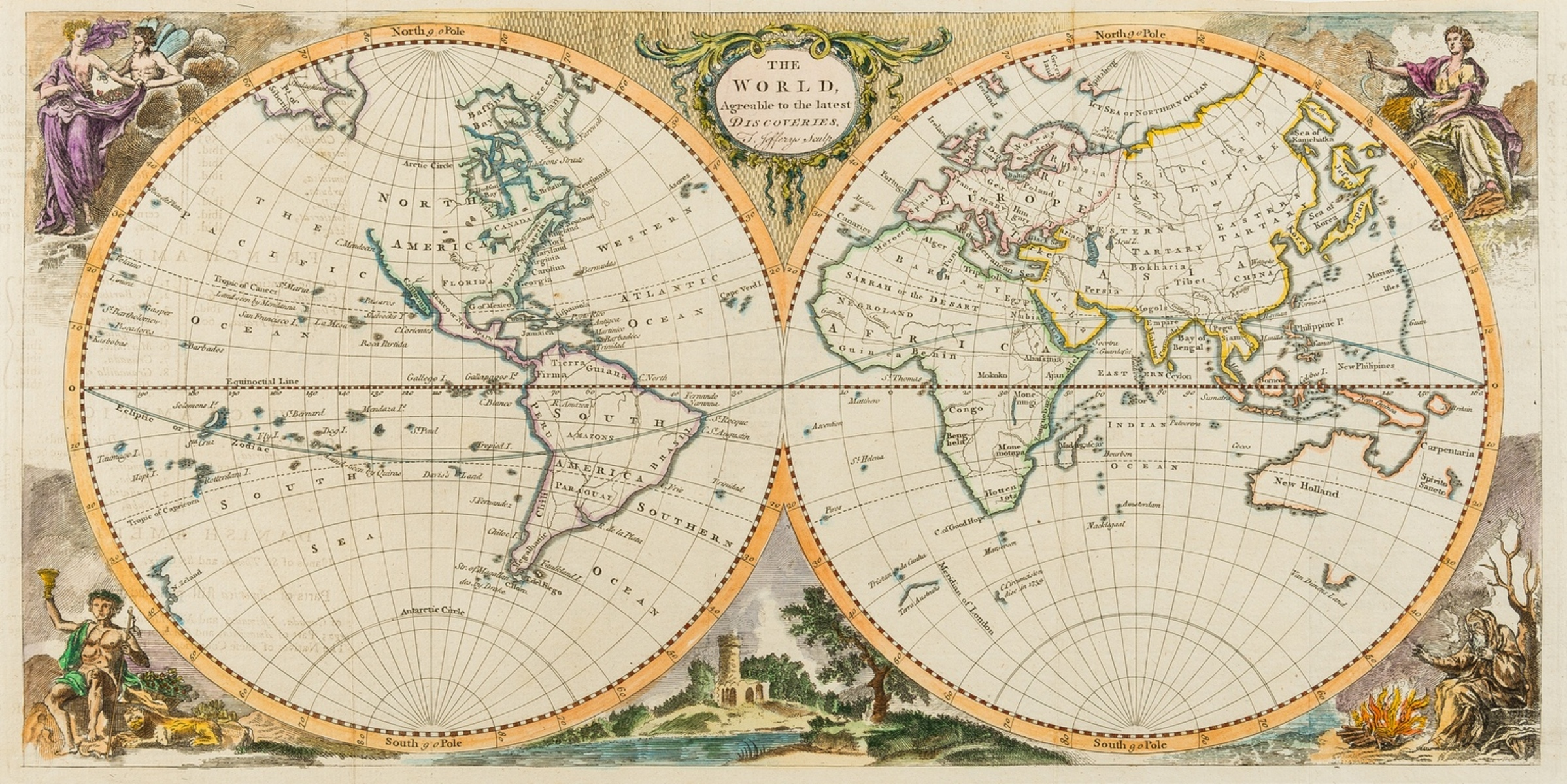 World.- Jefferys (Thomas) The World, agreable to the latest discoveries, [c.1760].