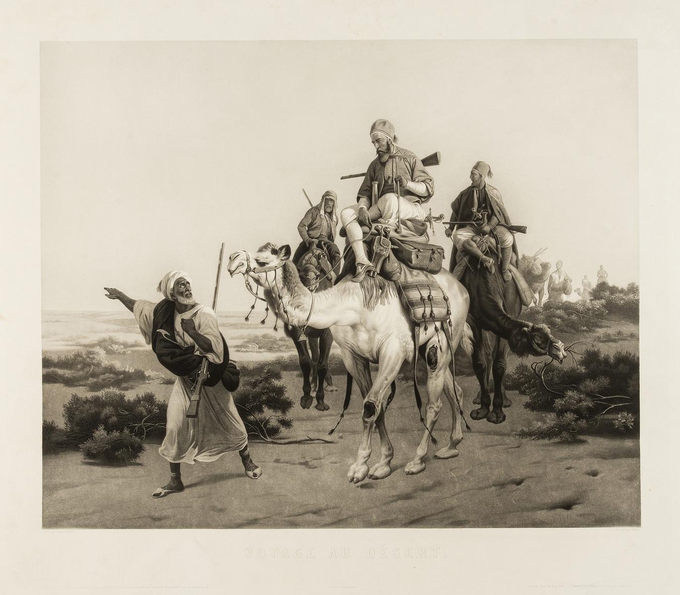 Middle East.- Vernet (Emile-Jean-Horace), After. Voyage au Désert, engraving, 1846.