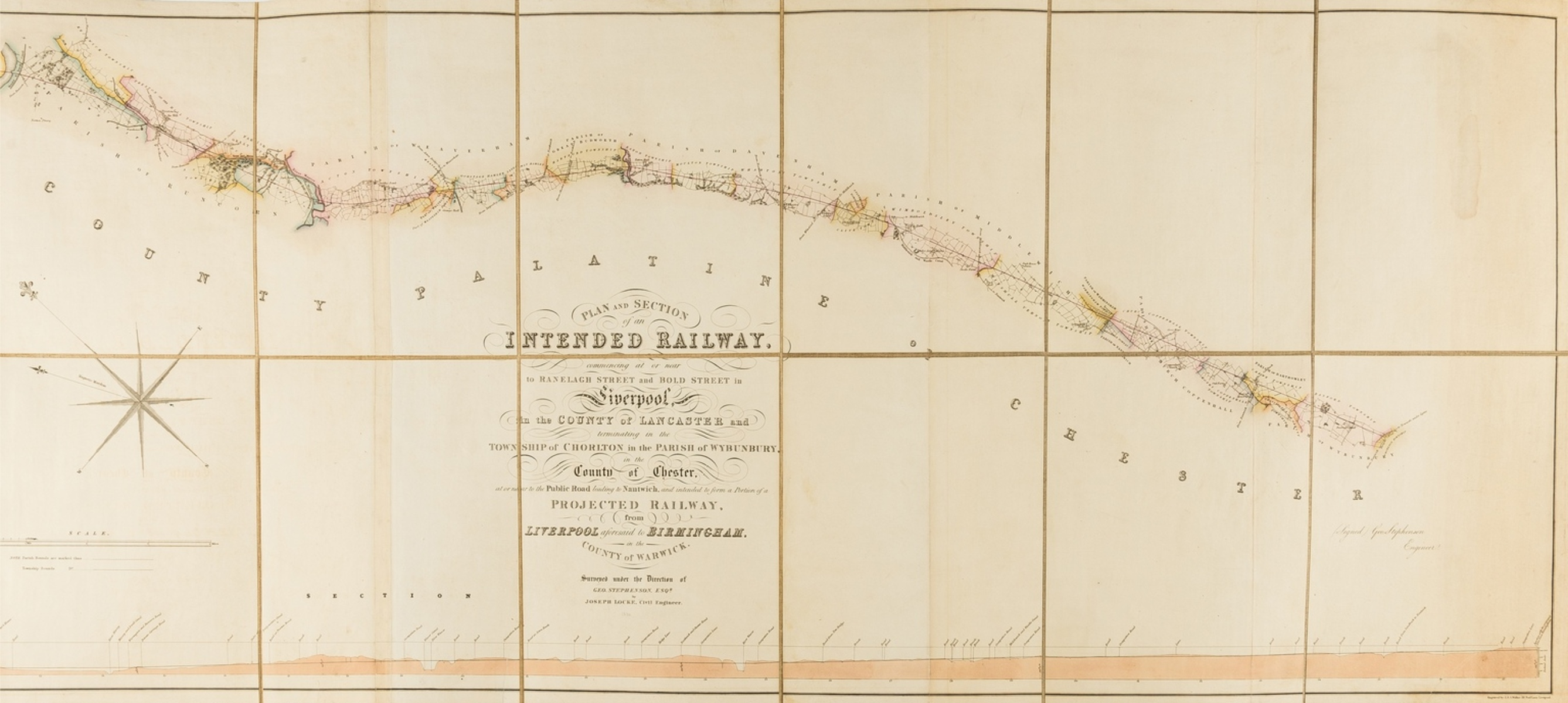 Railways.- Grand Junction Railway.- Stephenson (George) Plan and Section of an Intended Railway, …