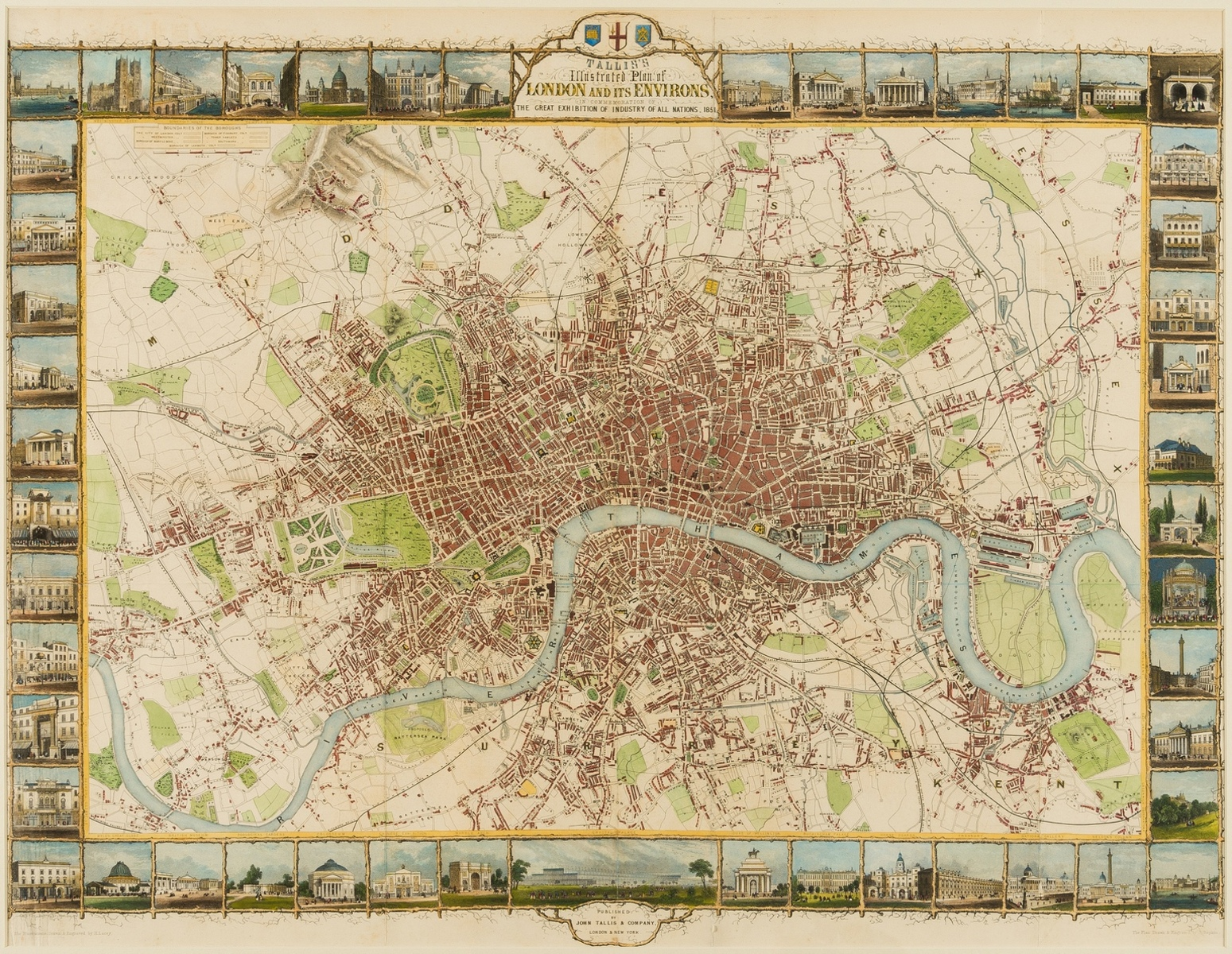 London.- Tallis (John) Tallis's Illustrated Plan of London and its Environs in commemoration of …