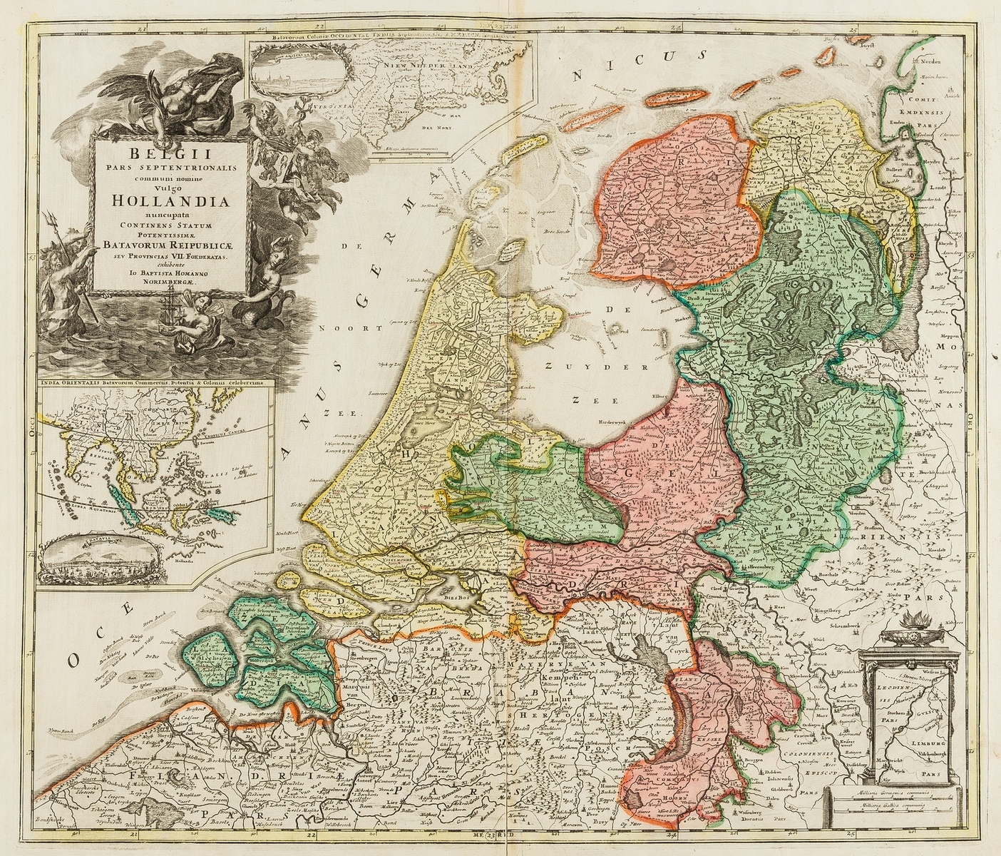 Netherlands.- Homann (Johann Baptist) Belgii Pars Septentrionalis Communi Nominee Vulgo Hollandia, …